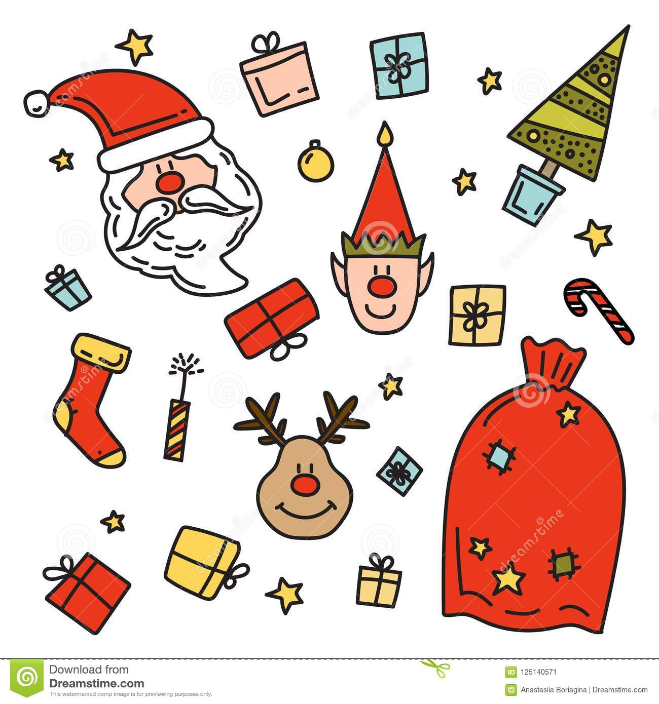 Drawings Of Christmas Presents.Doodle Drawing Santa Claus Christmas Gifts Deer Elf Stock