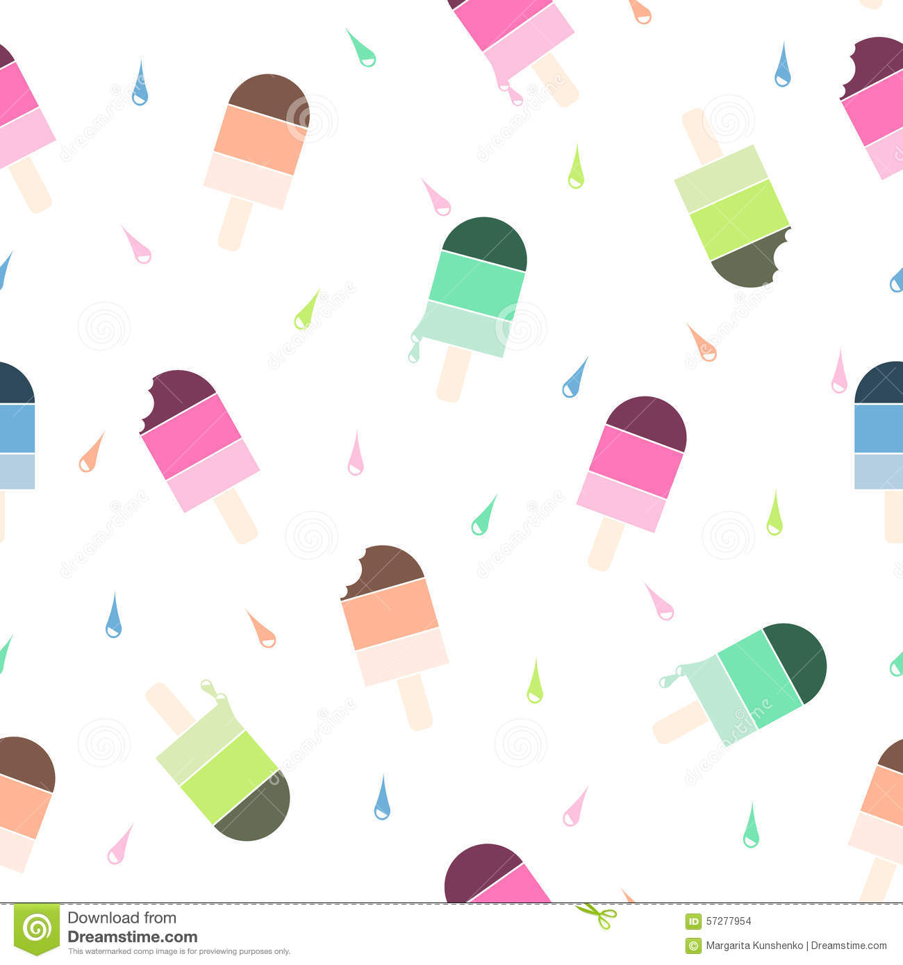Seamless Wallpaper Pattern With Ice Cream Icons Stock: Seamless Vector Pattern With Colorful Ice Cream Stock
