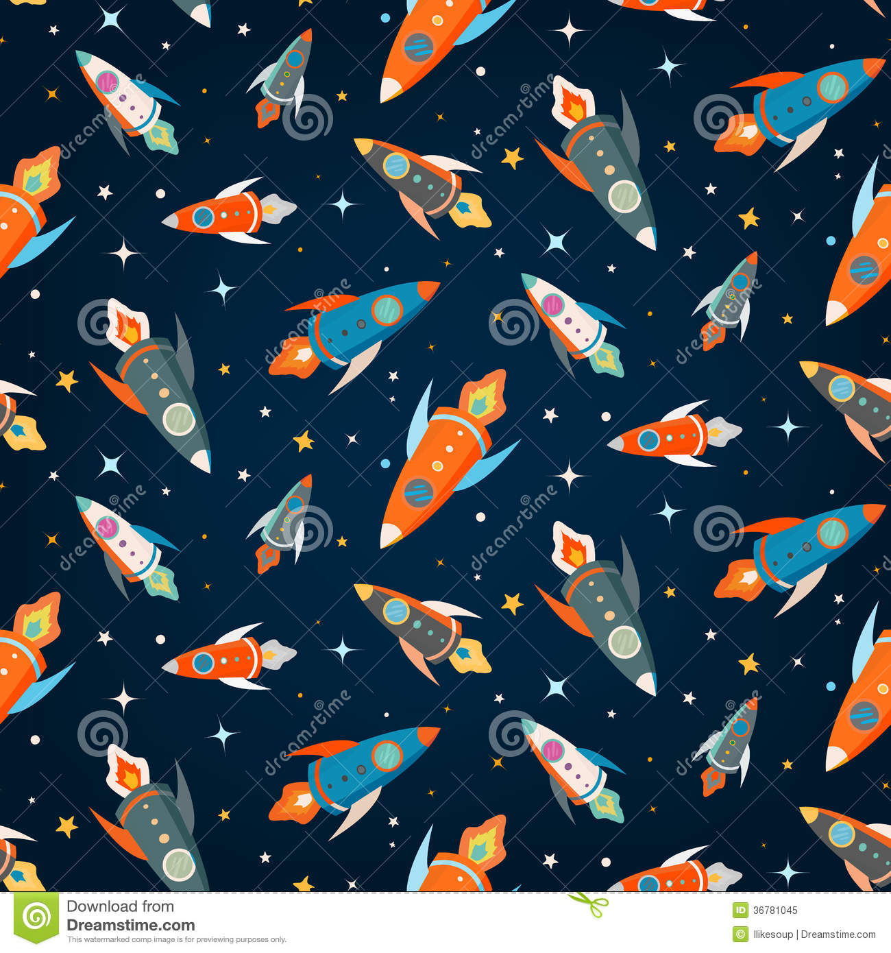 Seamless vector pattern of colorful spaceships stock for Outer space pattern