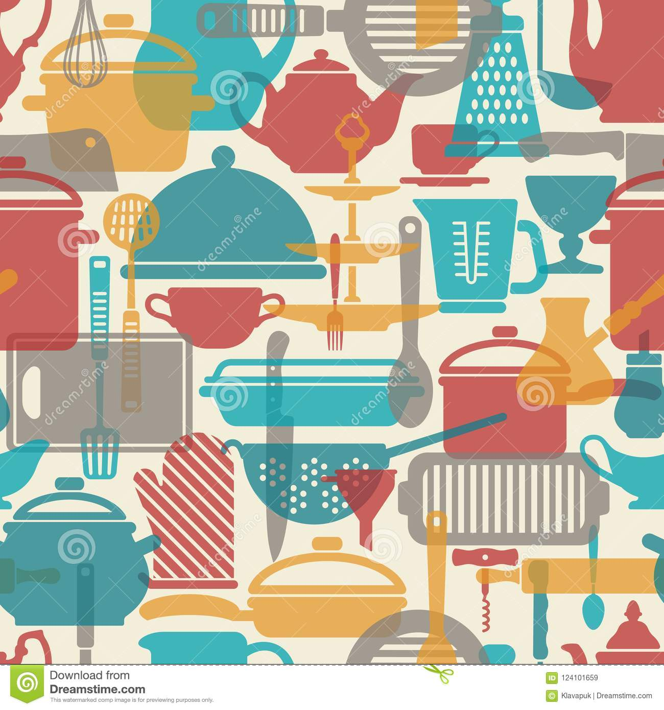 Seamless Vector Pattern. Kitchen Background. Cooking Utensils And ...