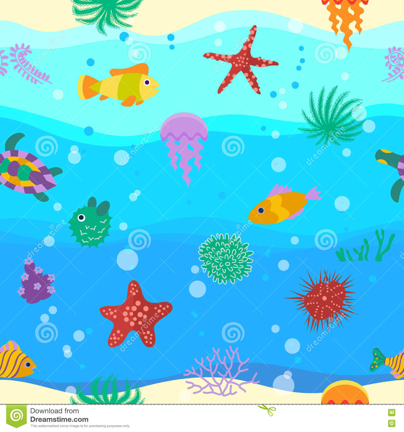 Seamless vector pattern with cute cartoon fish in waves for Seamless fish tank