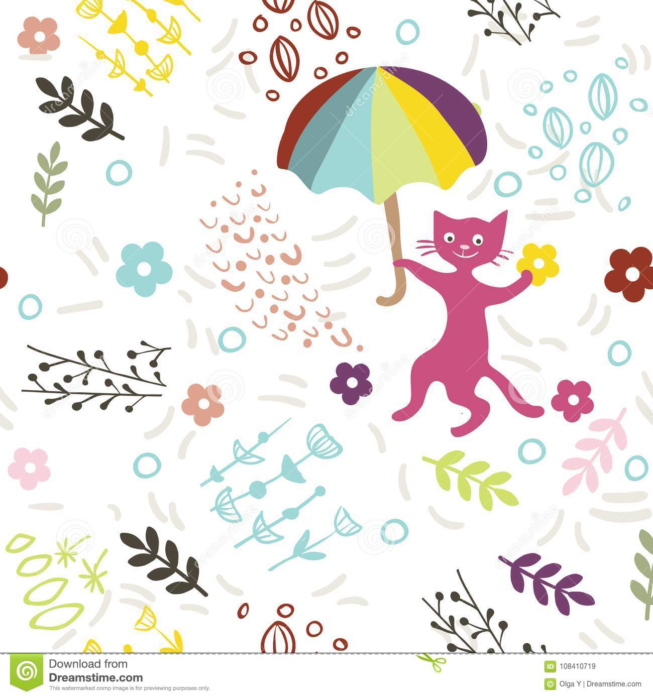 Seamless Vector Pattern With Cute Kitty Umbrella And Flowers On White Background Print For Fabric Wallpaper Greeting Card