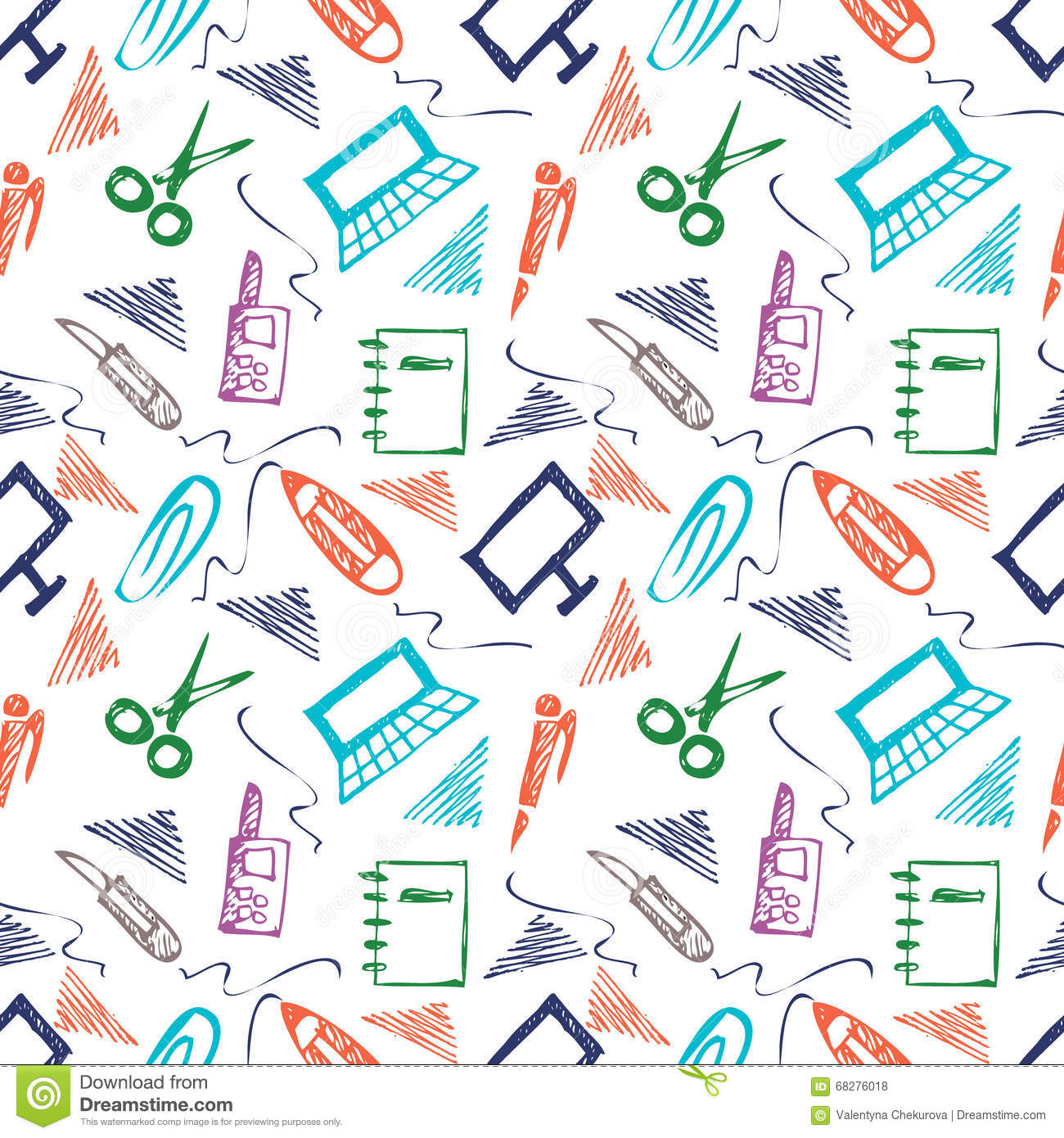 Seamless Vector Pattern With Elements Of Office Supplies. Colorful ...