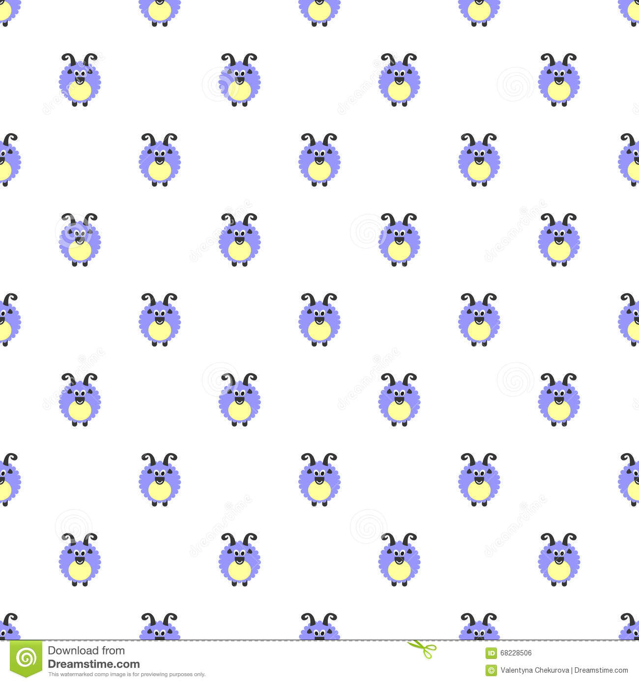 Seamless vector pattern with farm animals. Cute background with blue comic sheeps on the white backdrop.