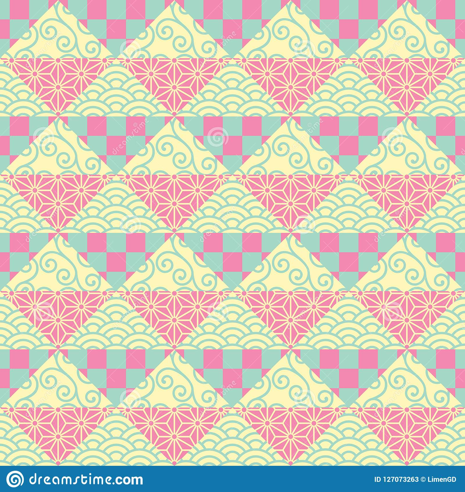 Japanese Patchwork Seamless Vector Pattern In Pink Yellow And Green