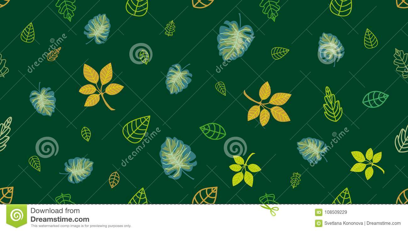 Green And Golden Wrapping Leaves On Emerald Background