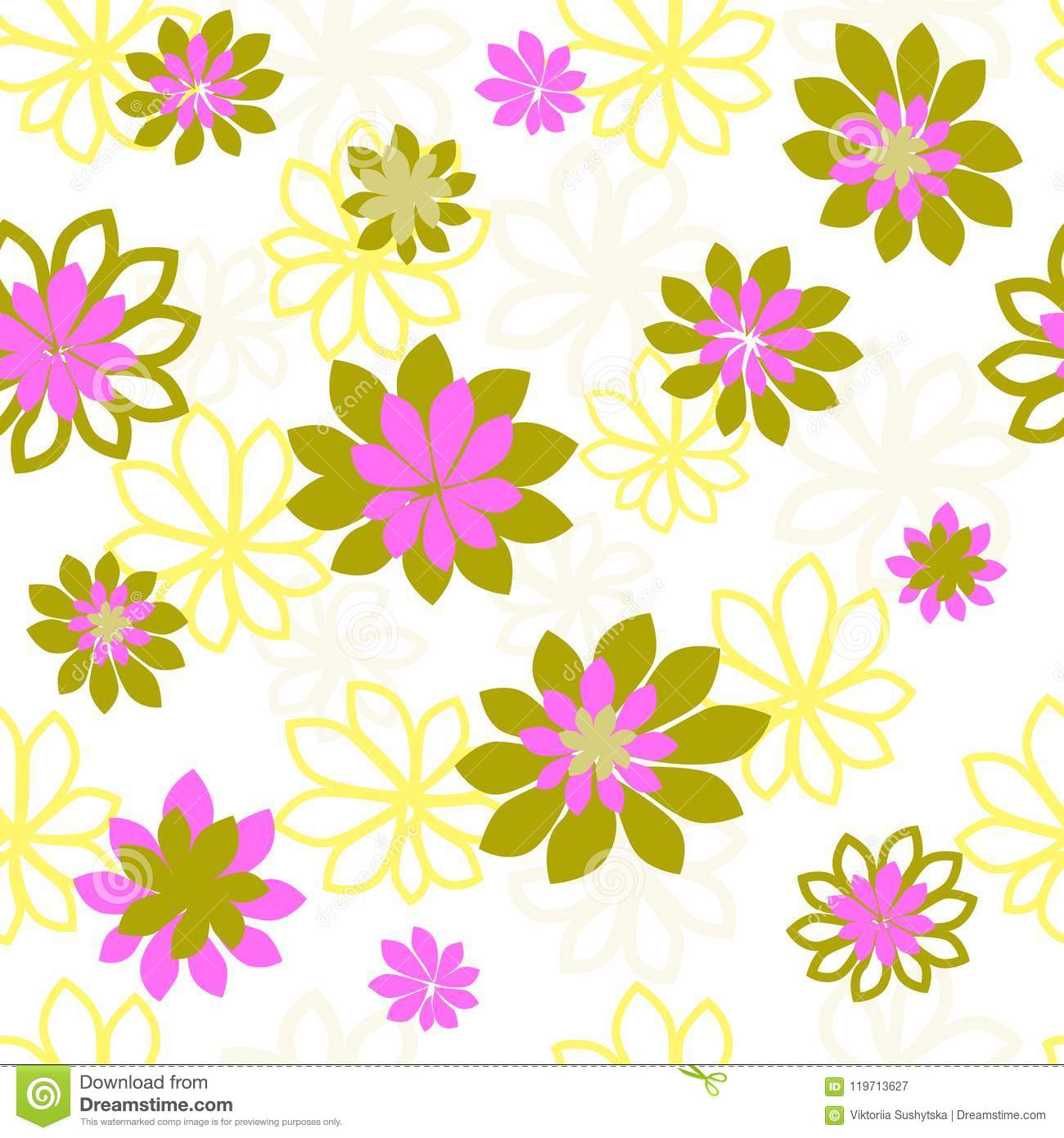 Seamless Vector Pattern With Flowers Flower Pattern Prints For