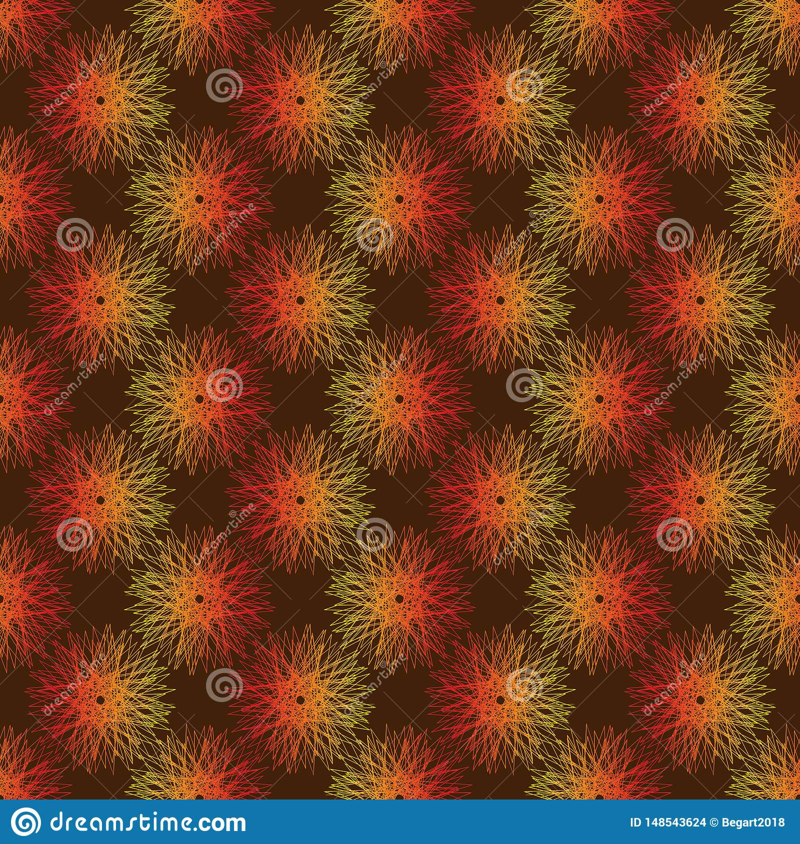 Seamless vector pattern geometric abstraction dandelion