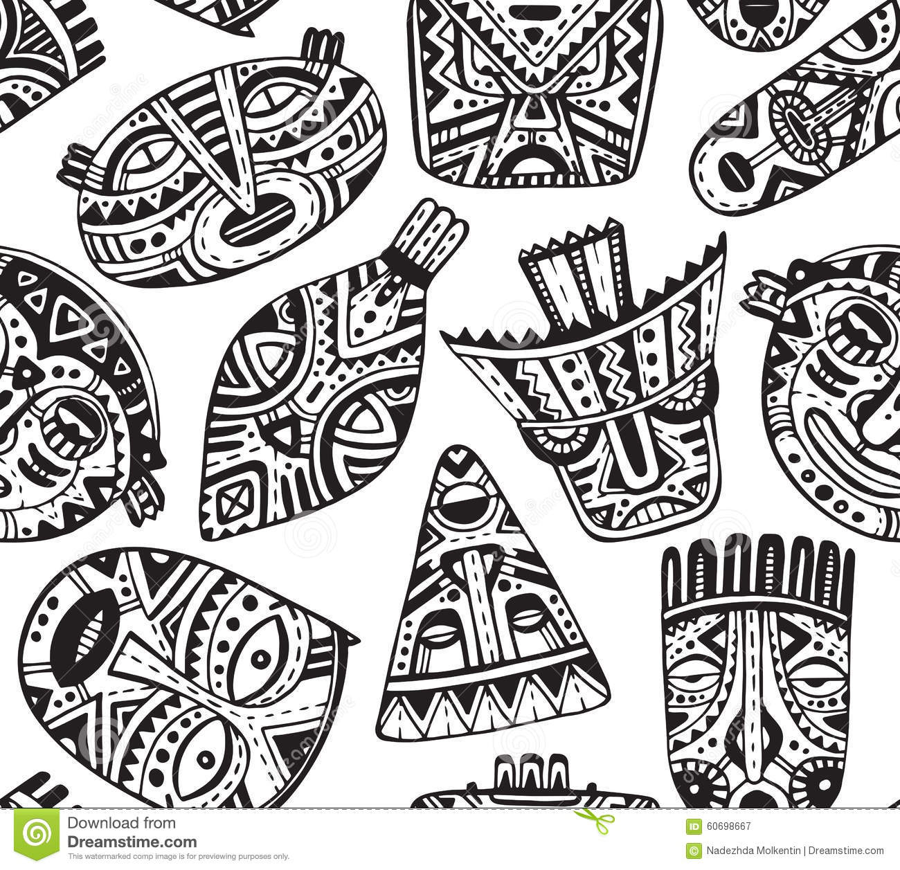 Seamless Vector Pattern With Hand Drawn Fancy Masks In African S Stock