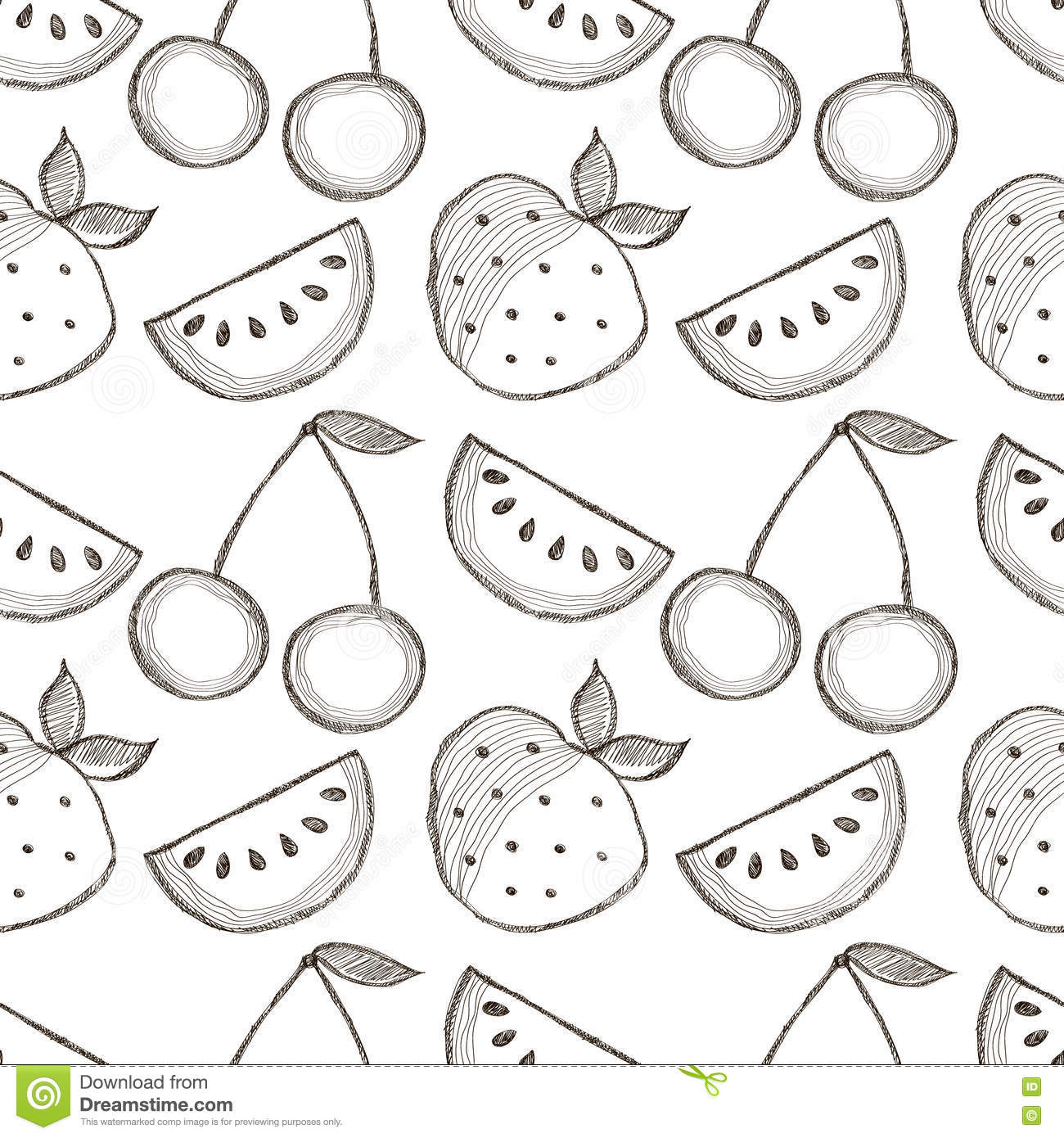 Stock Illustration Seamless Vector Pattern Hand Drawn Fruits Black White Background Watermelons Srawberries Cherries Series Image71708450 on Eating Fruit
