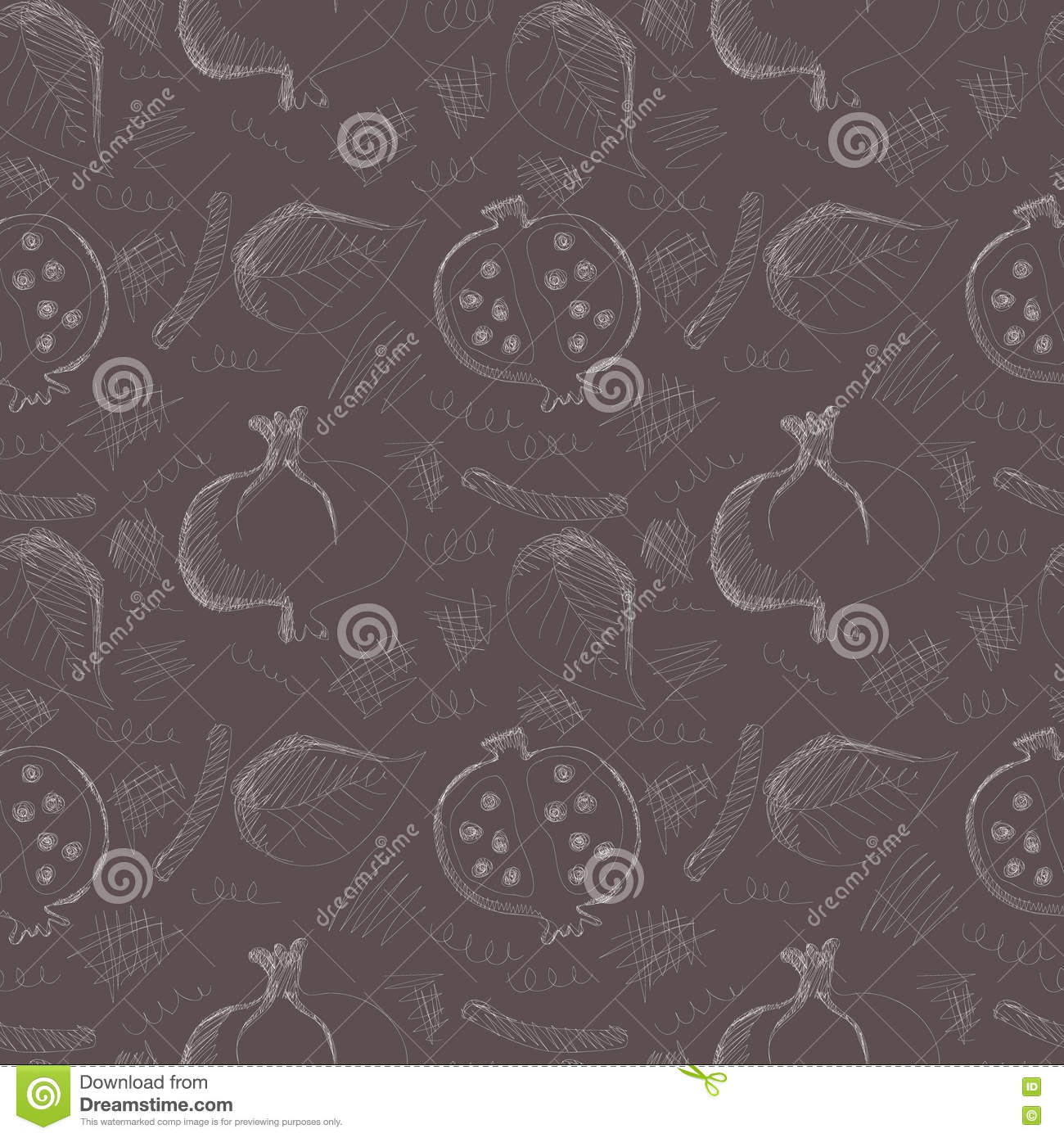 Seamless vector pattern with hand drawn pomegranates, leaves and scribbles on the dark grey background.