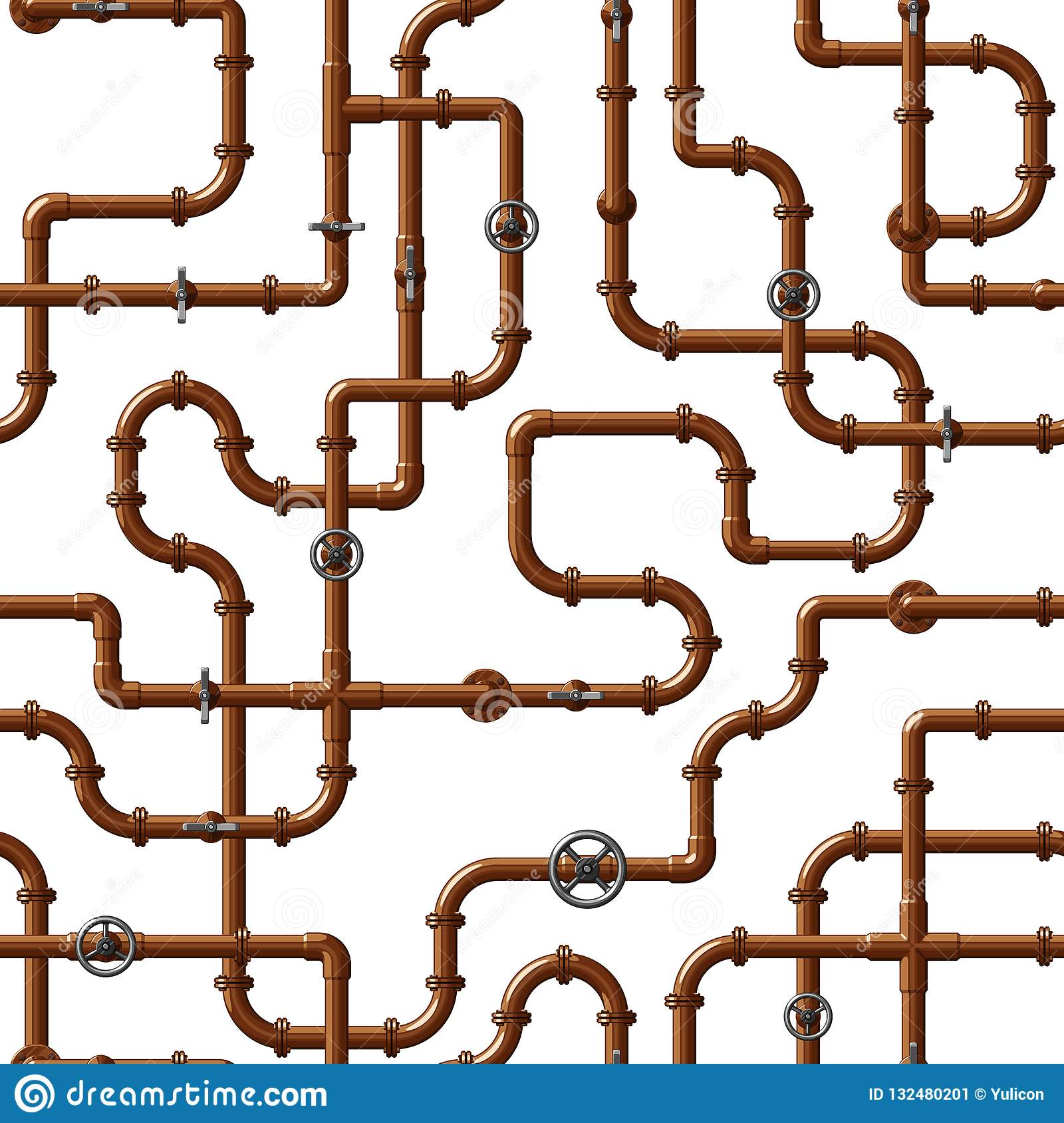 Seamless vector pattern of interlocking copper water pipes with valves