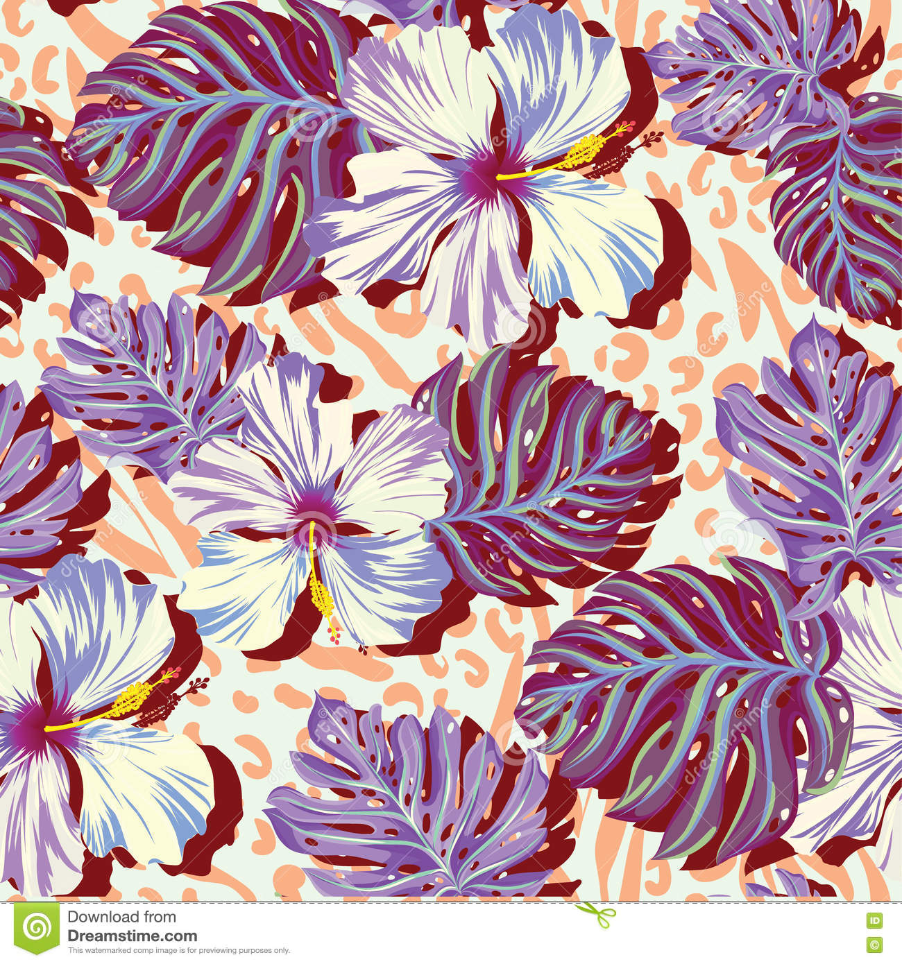 Seamless Vector Pattern For Men Aloha Flowers In Muted Colors Stock Vector