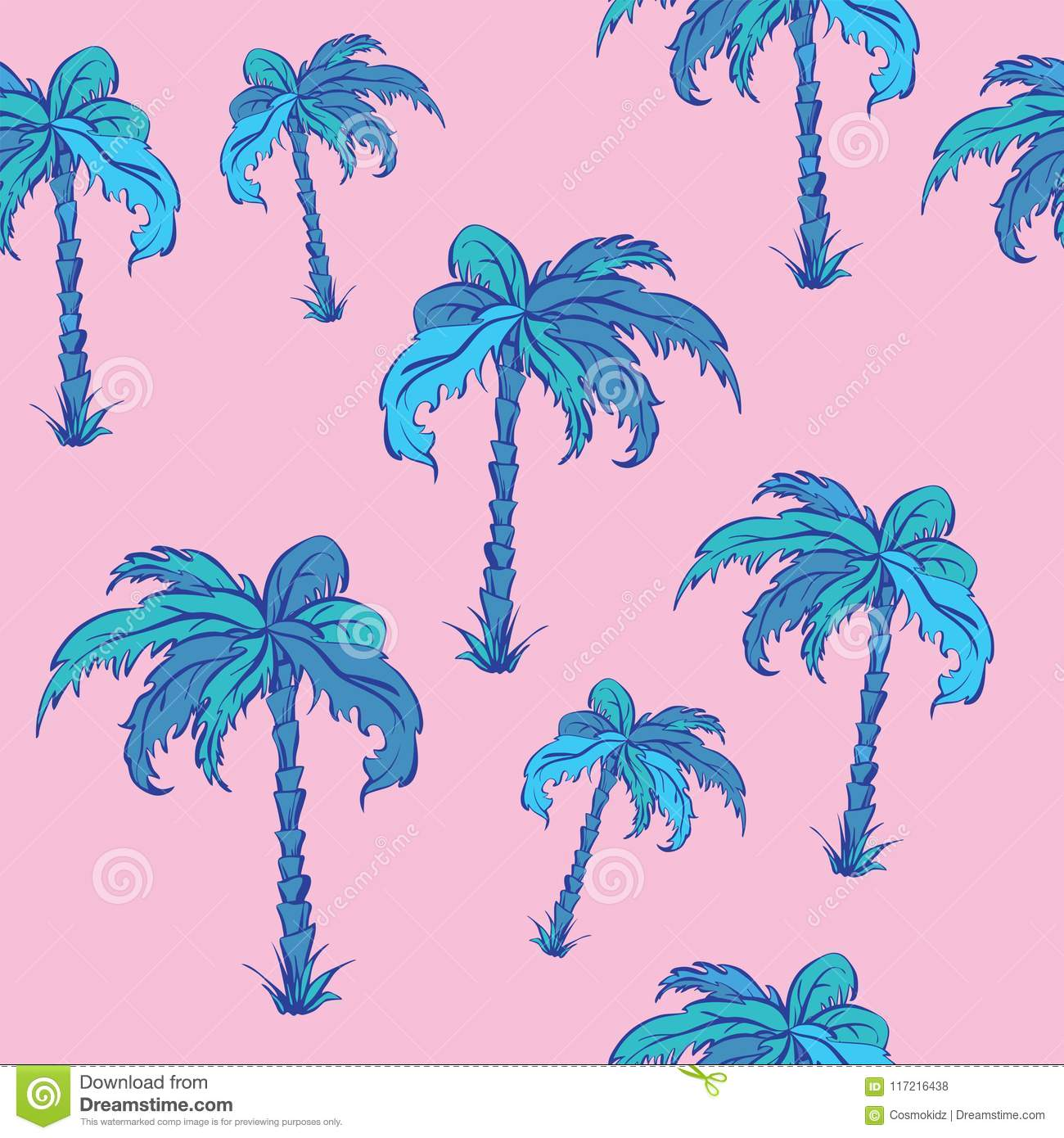 Seamless vector pattern of palms in cartoon style, neon colours