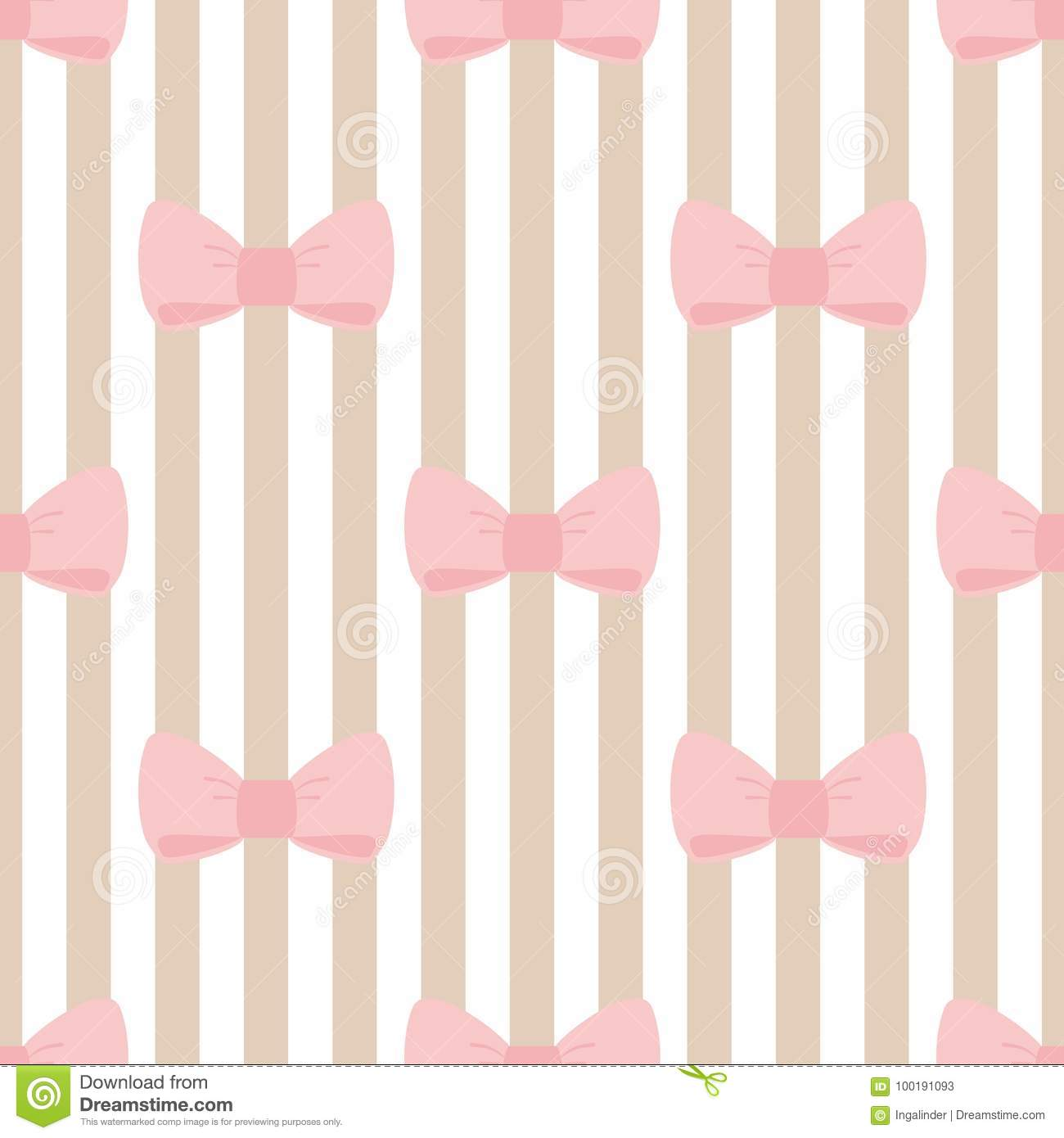 Seamless Vector Pattern With Pastel Pink Bows On A Light Brown And
