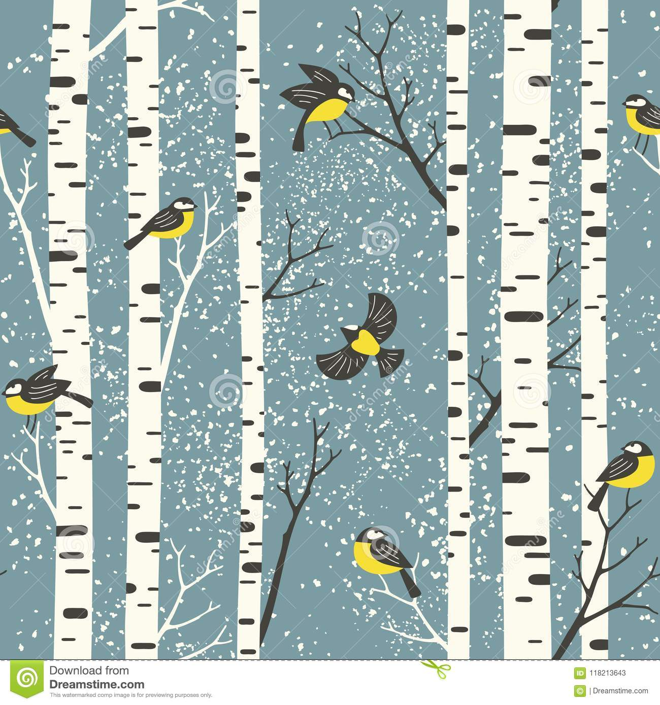 Snowy birch trees and birds on light blue background.