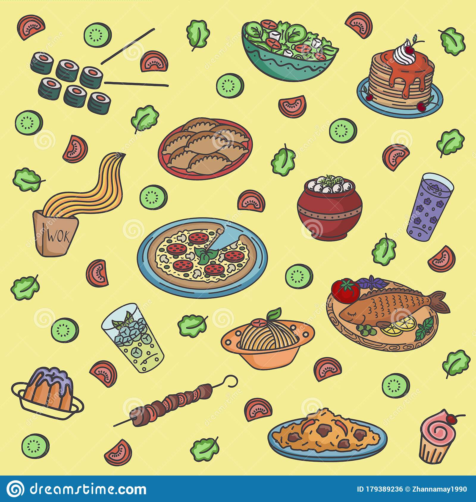Seamless Vector Pattern With Restaurant Food Stock Vector Illustration Of Meal Background 179389236