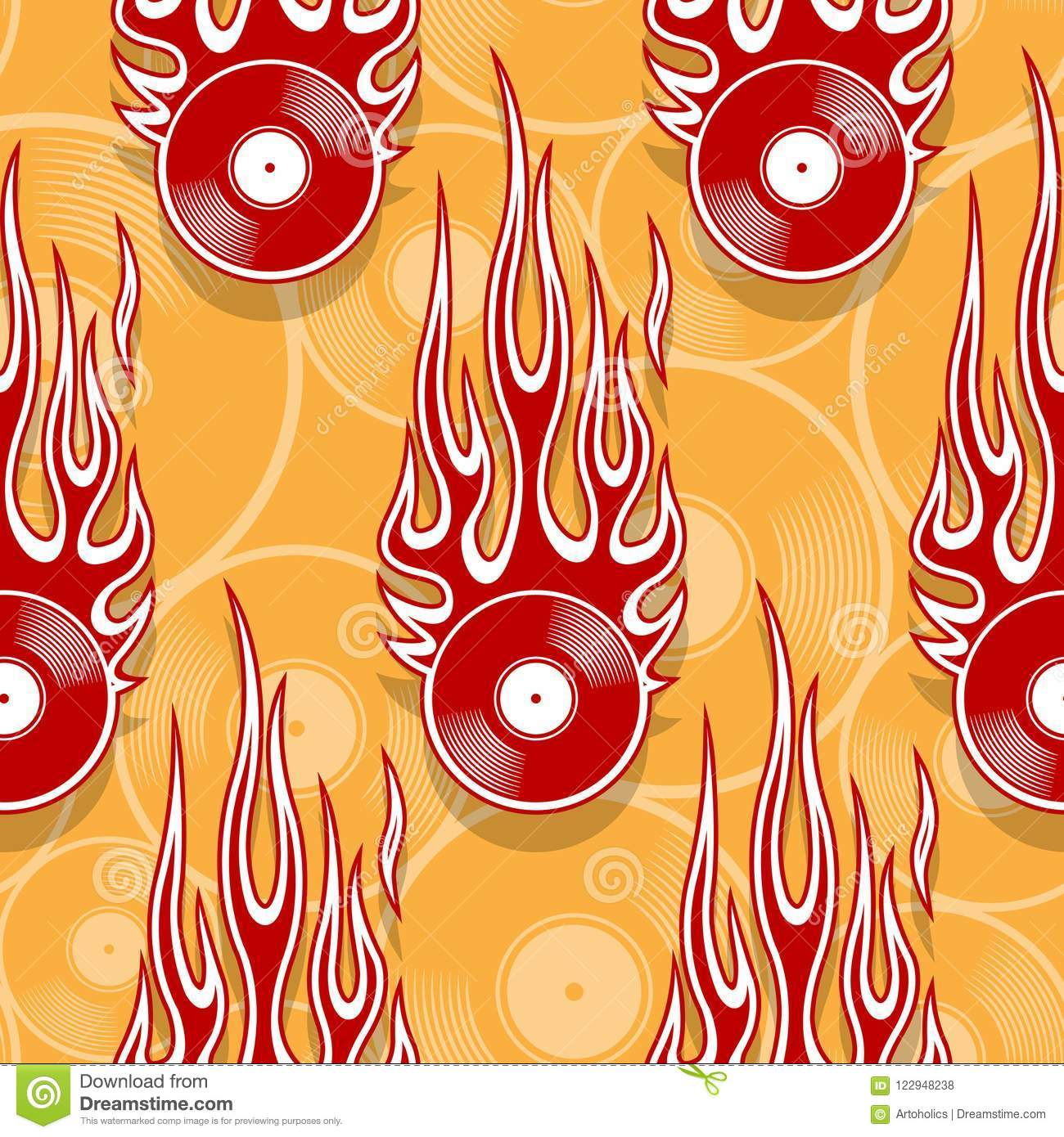 graphic about Printable Flames identify Seamless Vector Routine With Retro Common Vinyl Background Icon