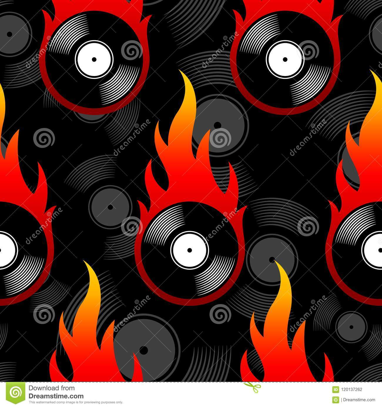 Seamless Vector Pattern With Retro Vintage Vinyl Record Icons An