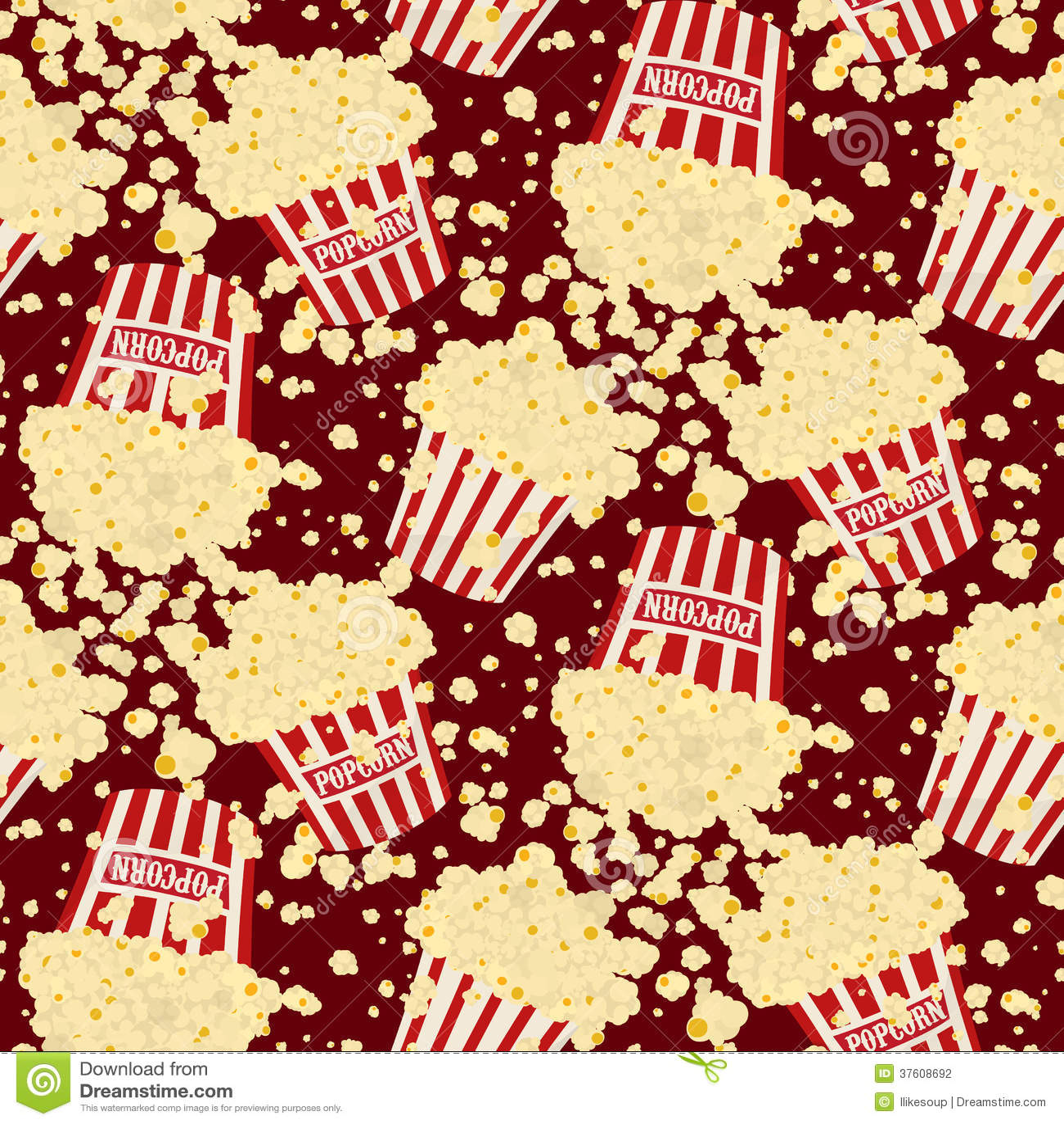 Popcorn Wallpaper: Seamless Vector Popcorn Background Stock Photography