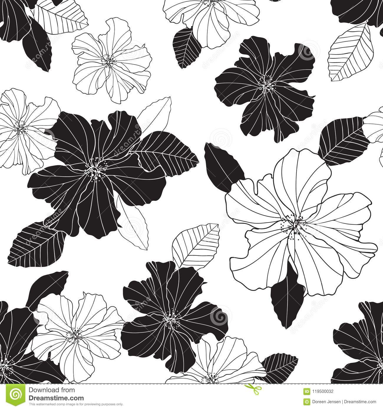 Seamless vector repeat black and white hibiscus flowers and leaf seamless vector repeat black and white hibiscus flowers and leaf izmirmasajfo