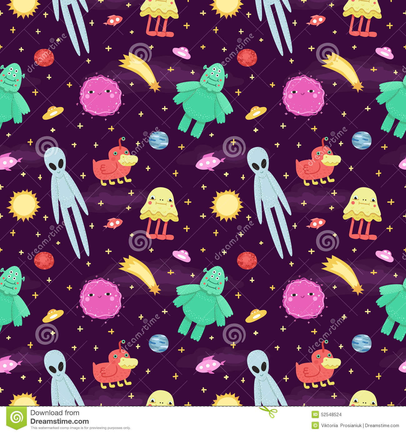 seamless vector space pattern with cute and funny cartoon aliens