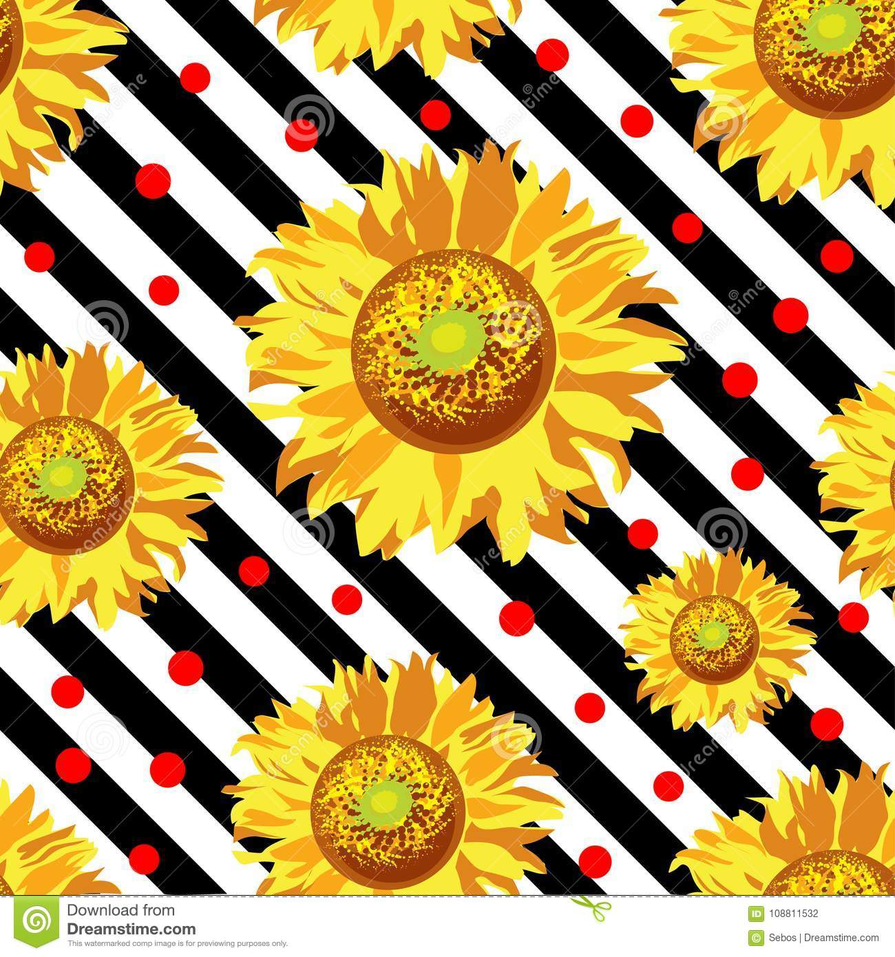 Seamless Vector With Sunflower Flowers On Black And White Stripes