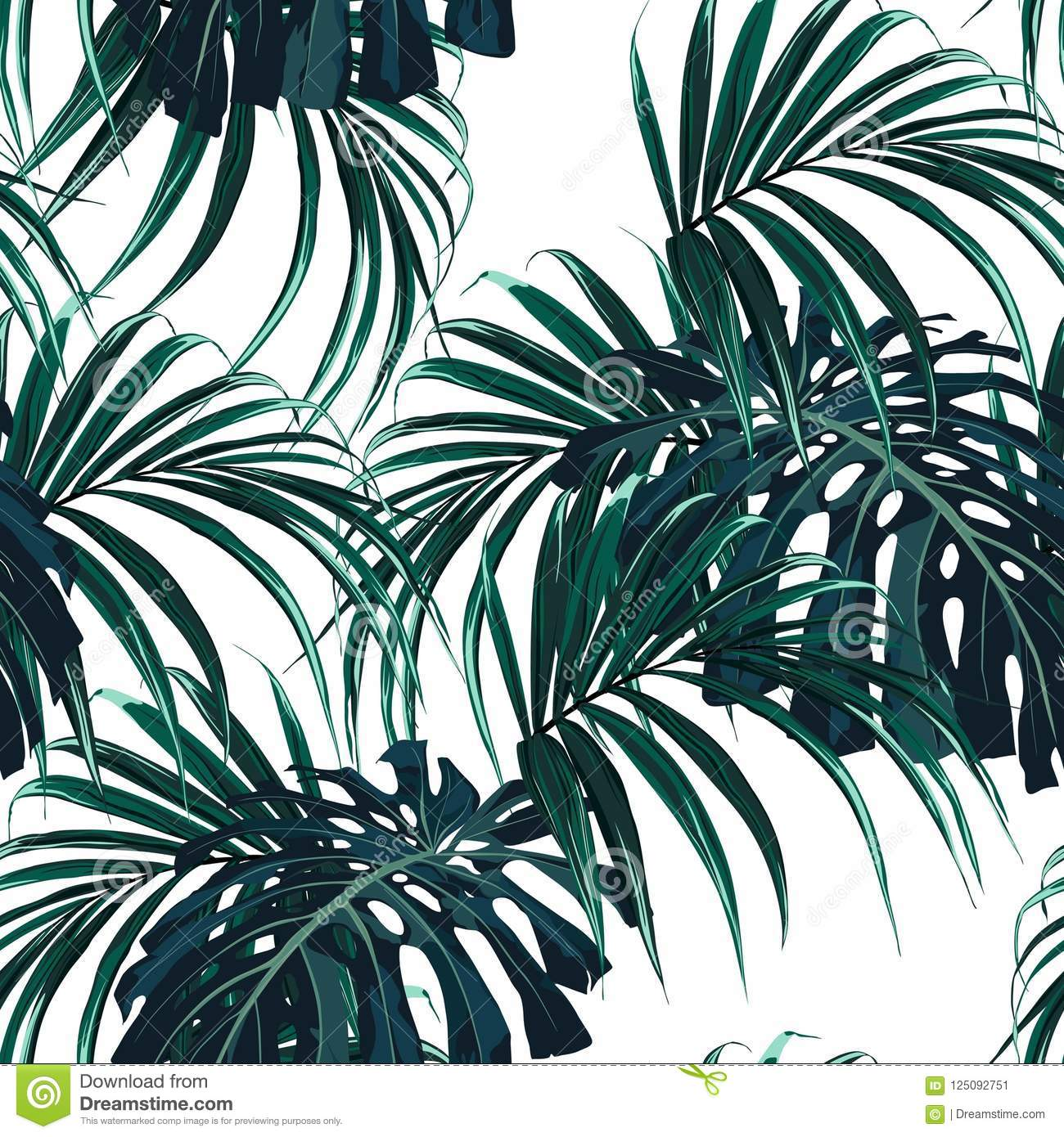 Seamless Vector Tropical Pattern With Dark Green Palm Leaves On White Background Stock Illustration Illustration Of Bird Dark 125092751 Free for commercial use no attribution required high quality images. https www dreamstime com seamless vector tropical pattern dark green palm leaves white background tropical background jungle plants seamless image125092751
