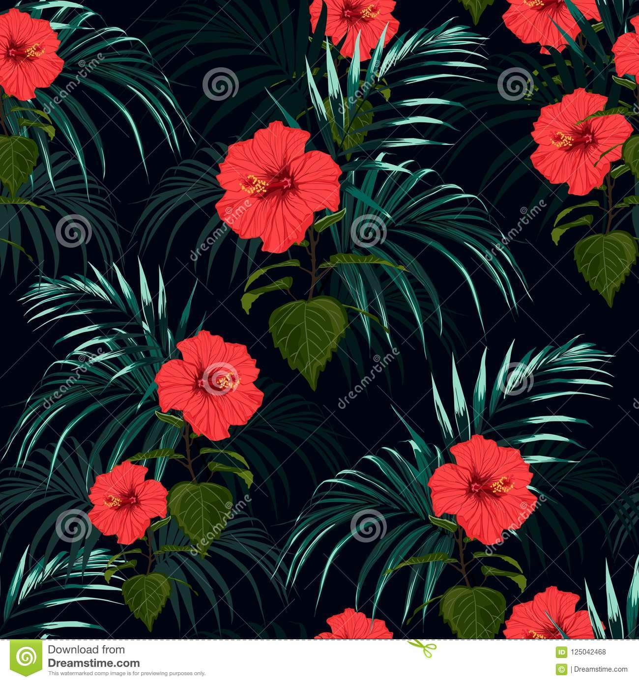 Seamless Vector Tropical Pattern With Dark Palm Leaves And ...