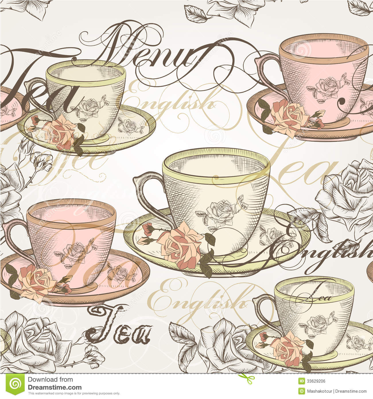 14 Seamless Vector Wallpaper Design In Vintage Style Stock