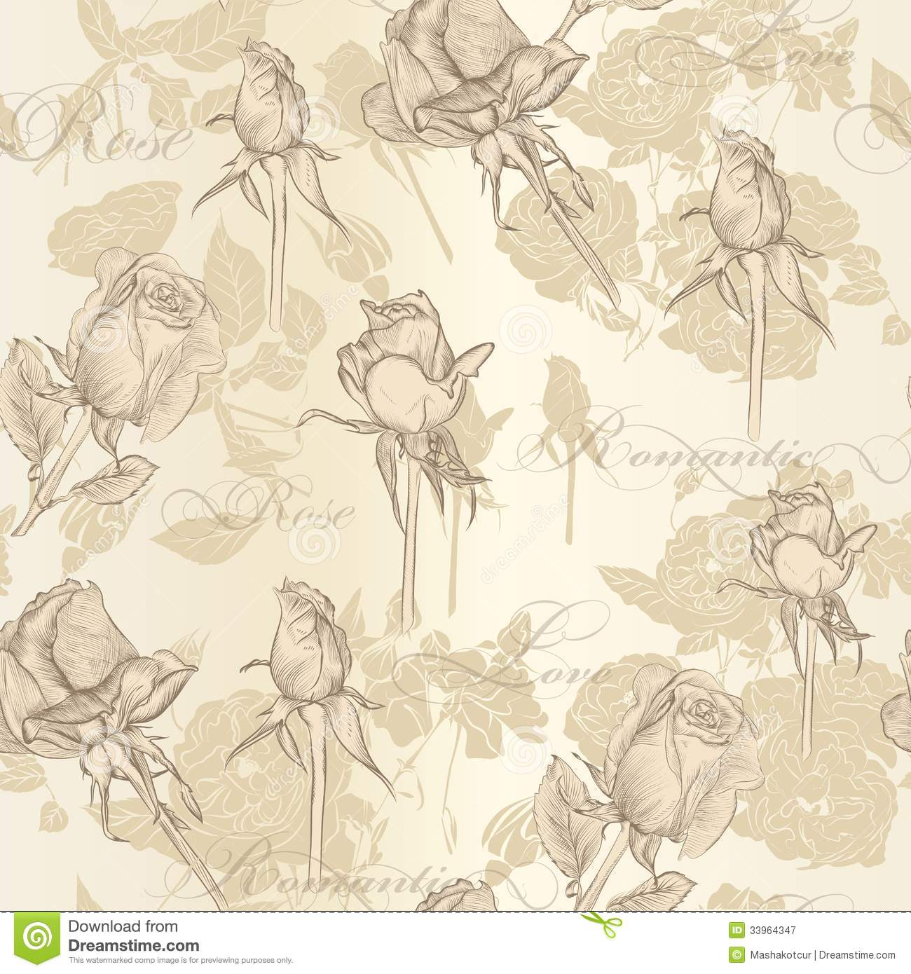 Seamless vector wallpaper with roses in vintage style for Papel decorativo para pared