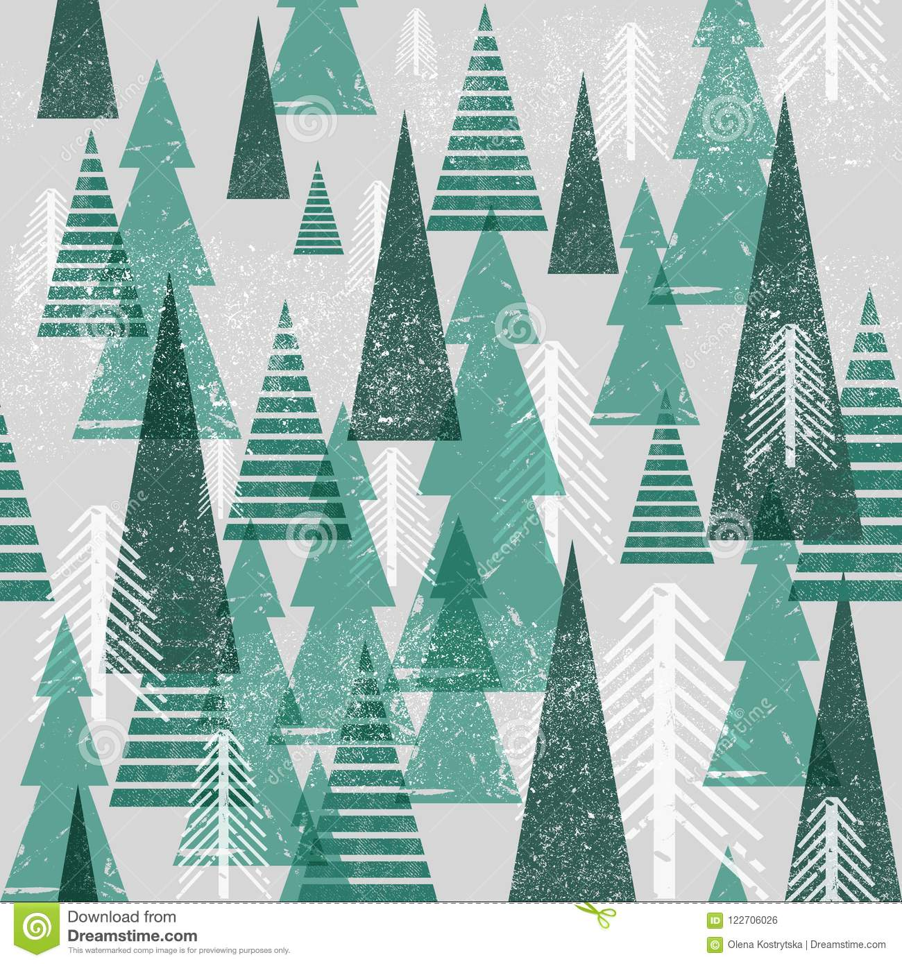 Seamless vector winter forest pattern. Christmas background. Green trees in clouds. Grunge texture graphic simple