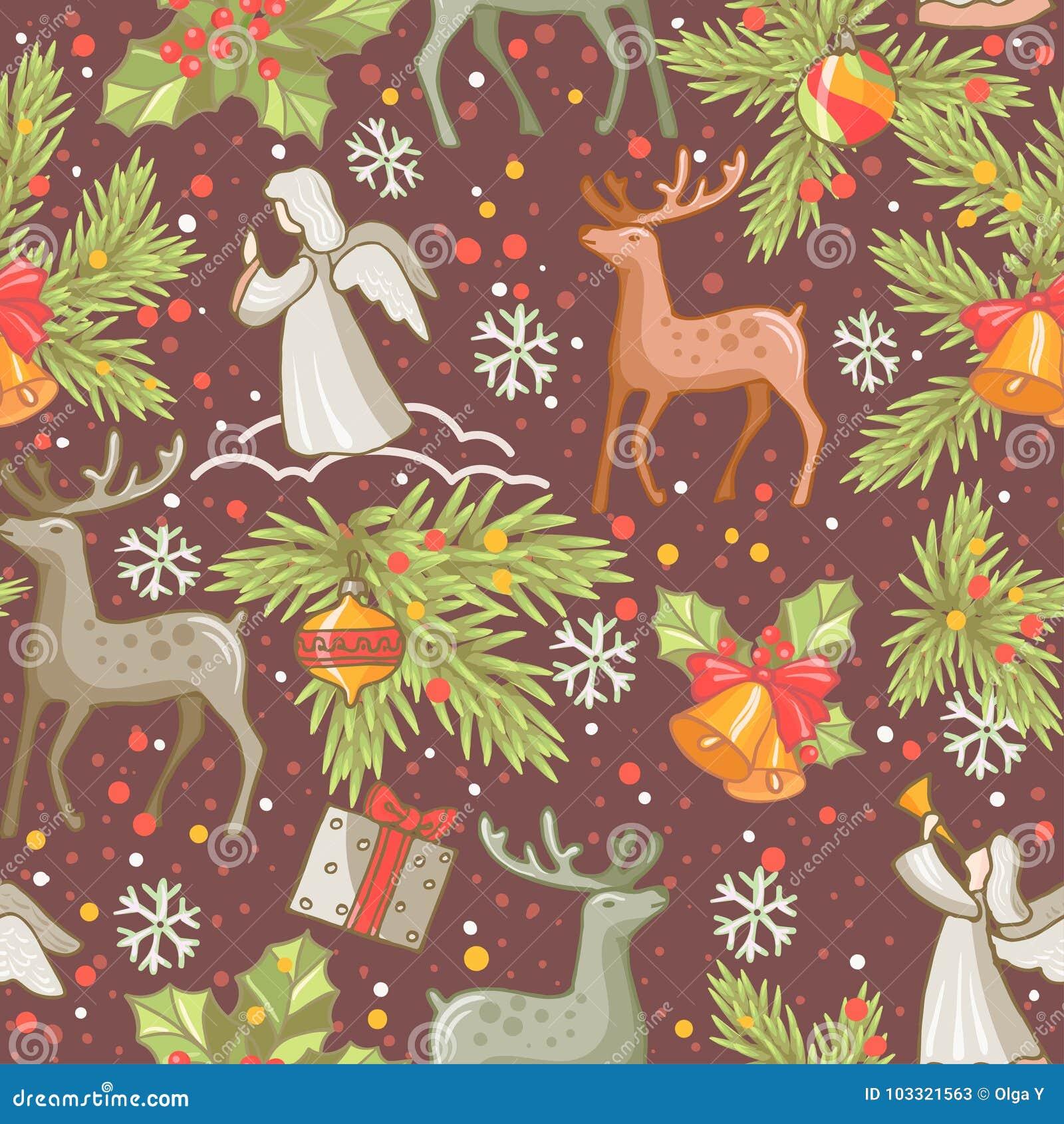 Seamless vektor för designmodell Glad julkortgarnering Lyckliga designbeståndsdelar för nytt år Tappningprydnad av hjortar, klock