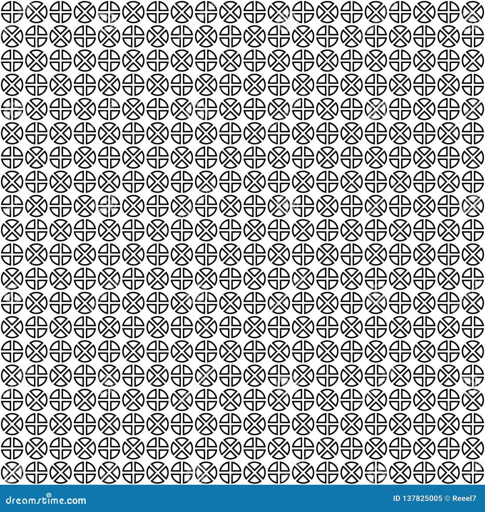 Seamless vektor för modell abstrakt geometrisk textur Svartvit bakgrund Monokromma delade cirklar planlägger