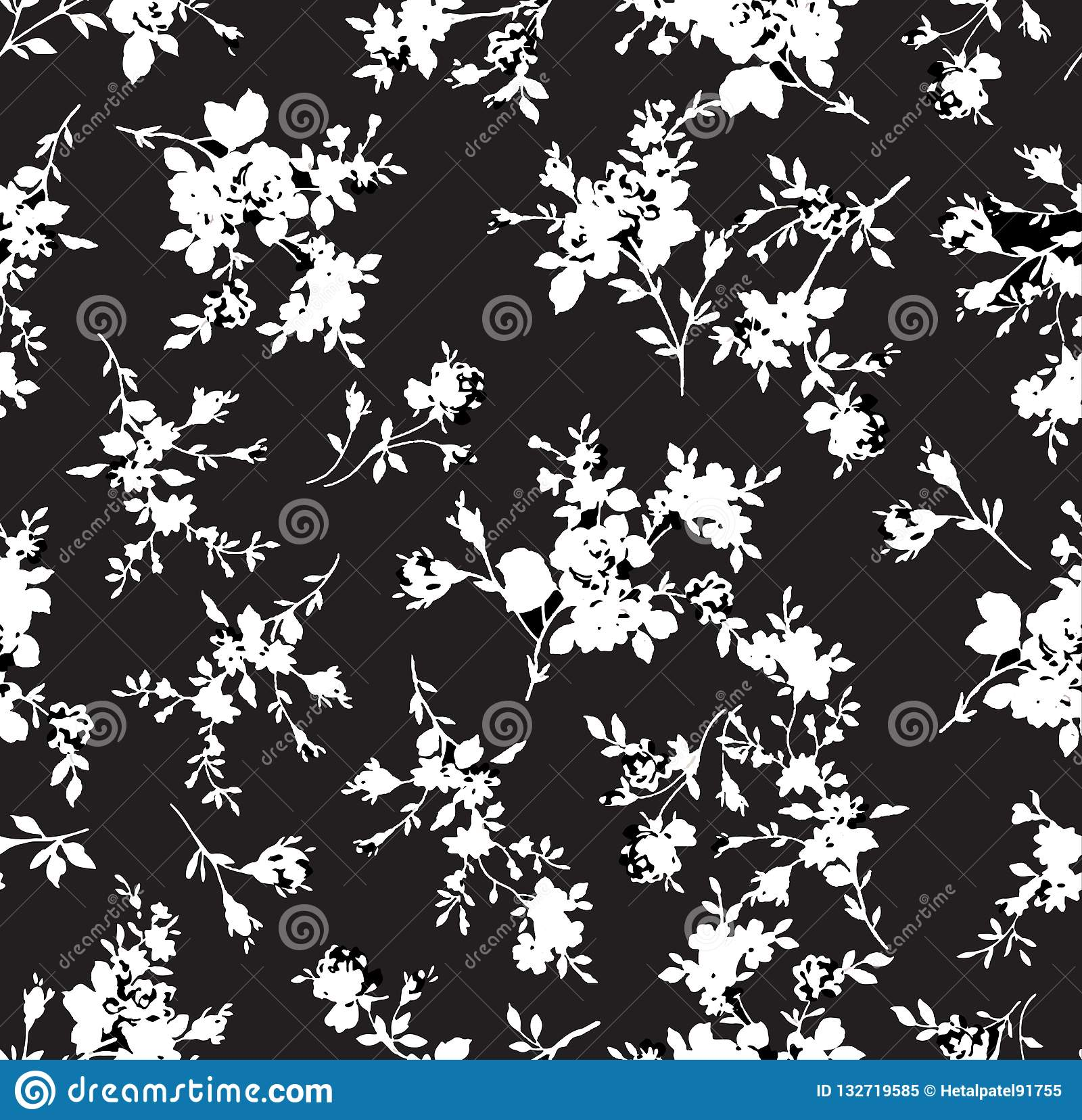 Vintage black flowers pattern