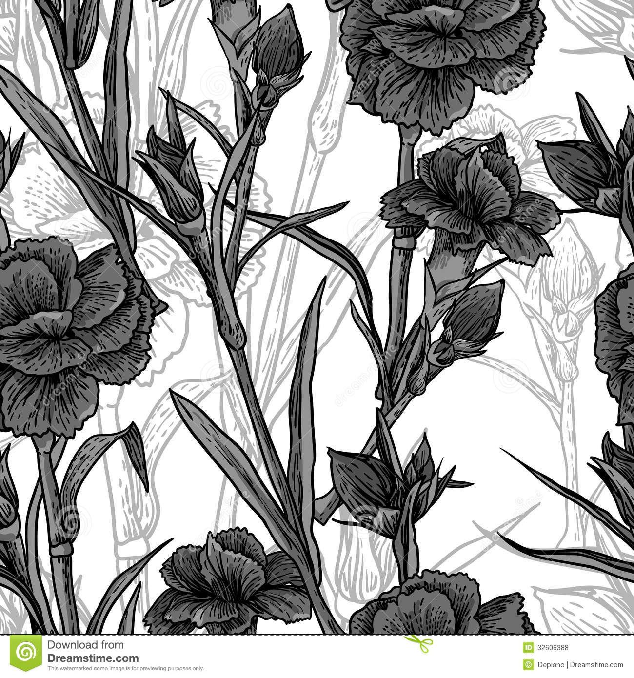 Seamless Vintage Black And White Floral Background Stock Vector
