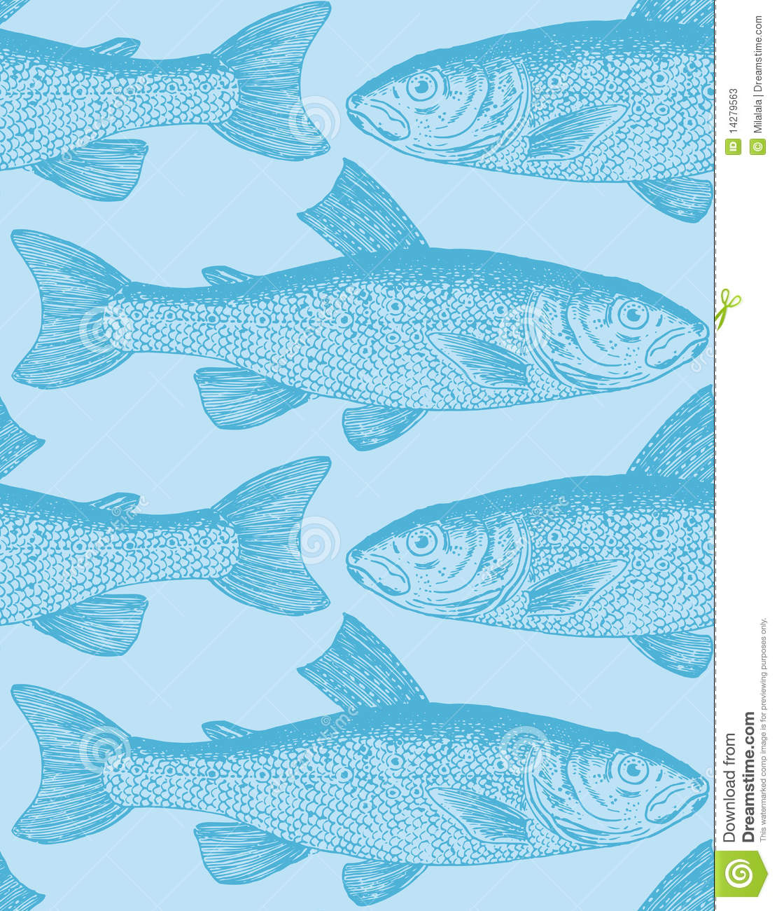 Seamless vintage fish pattern (vector)