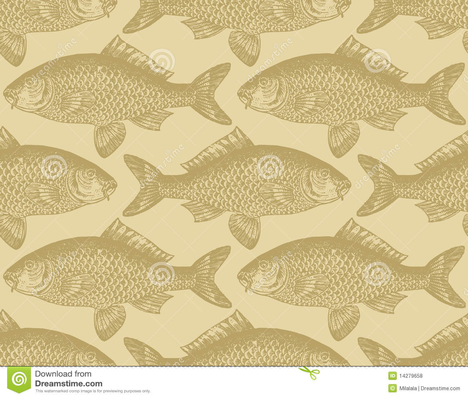 seamless vintage fish pattern vector illustration 14279658 megapixl