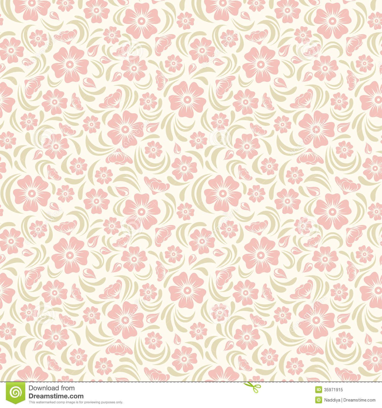 Seamless Vintage Floral Pattern Stock Vector Illustration Of