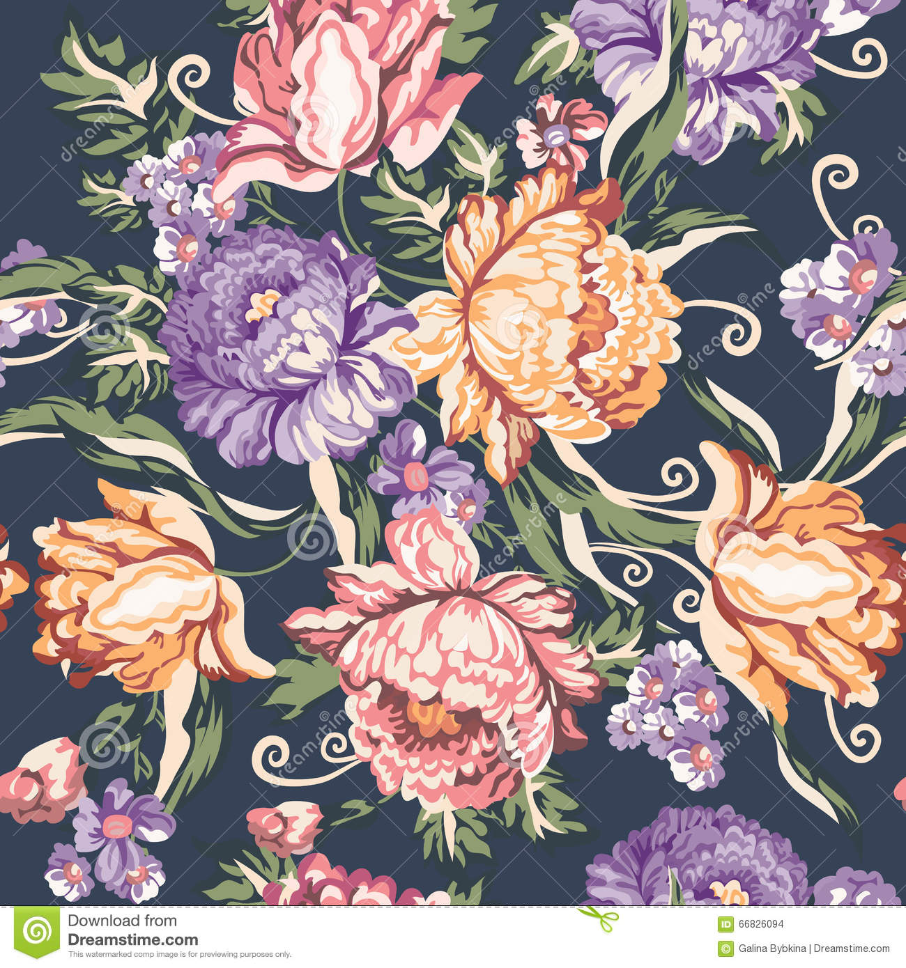 Seamless Vintage Flower And Curls Pattern On Navy Background Stock