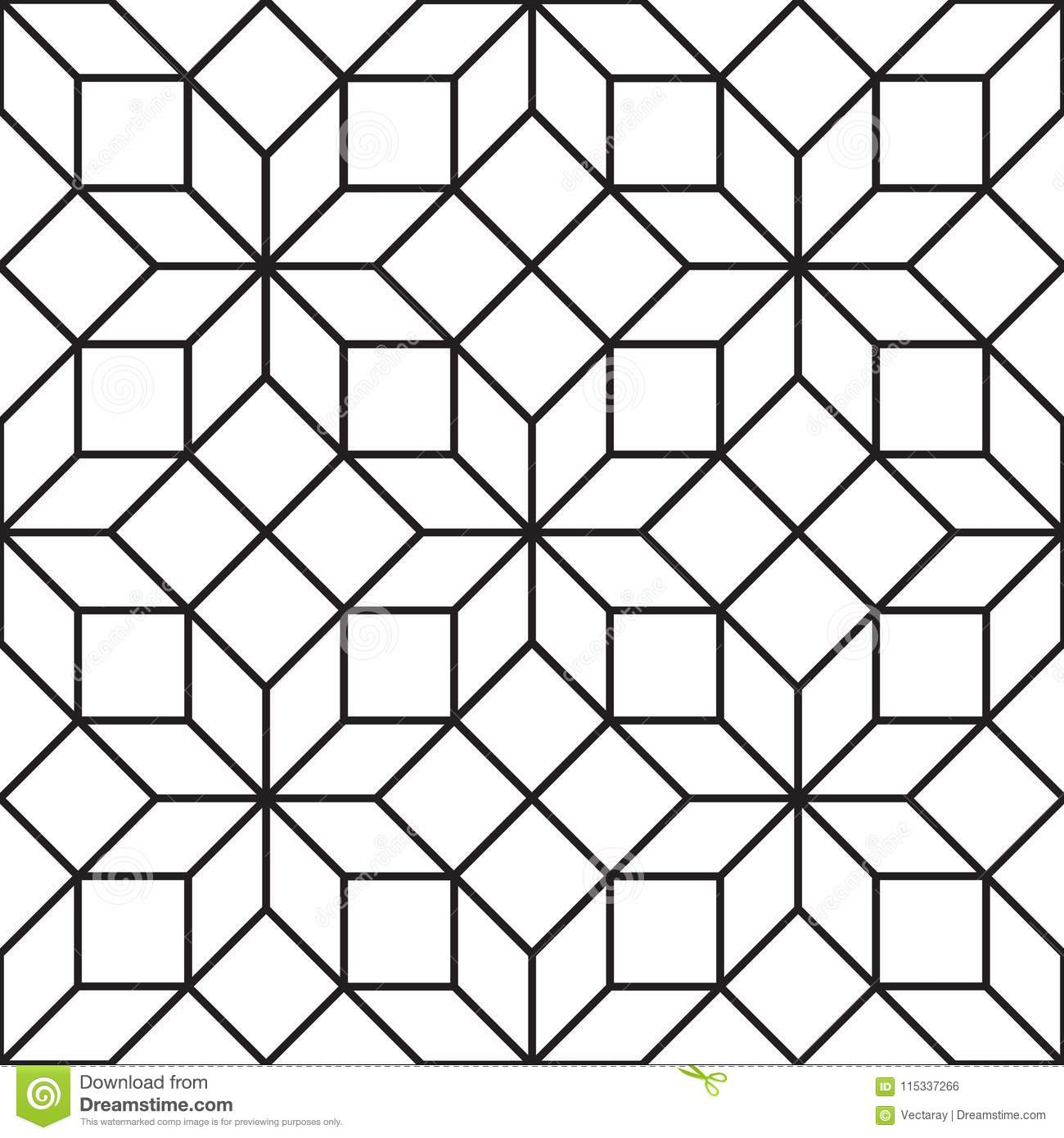 Seamless Vintage Geometric Lattice Trellis Pattern