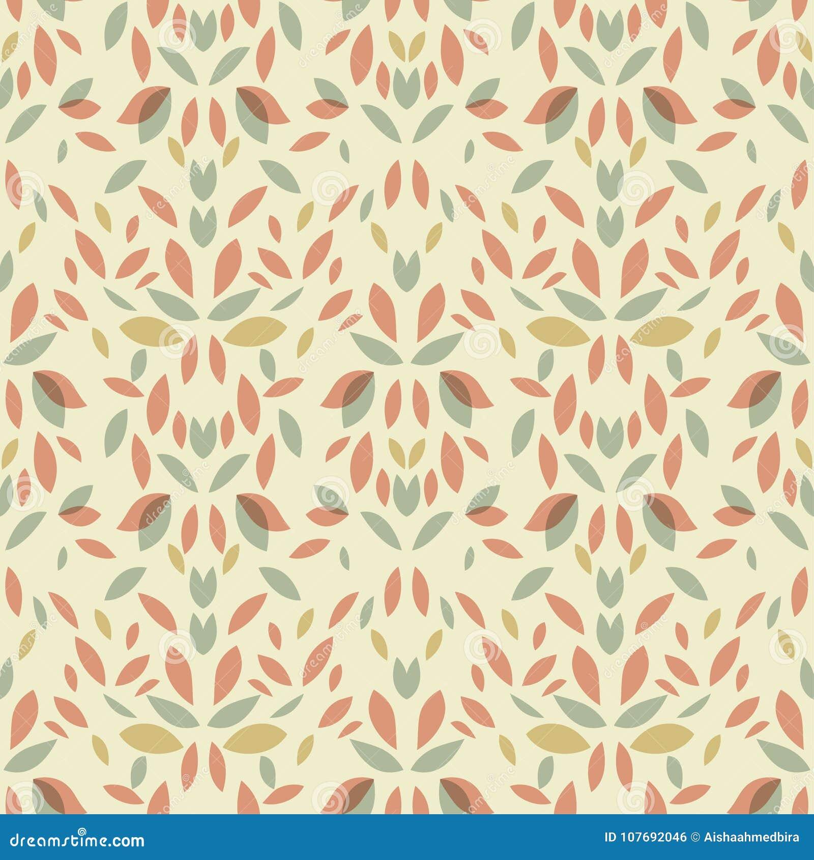 Seamless Vintage Leaf Floral Pattern Stock Illustration