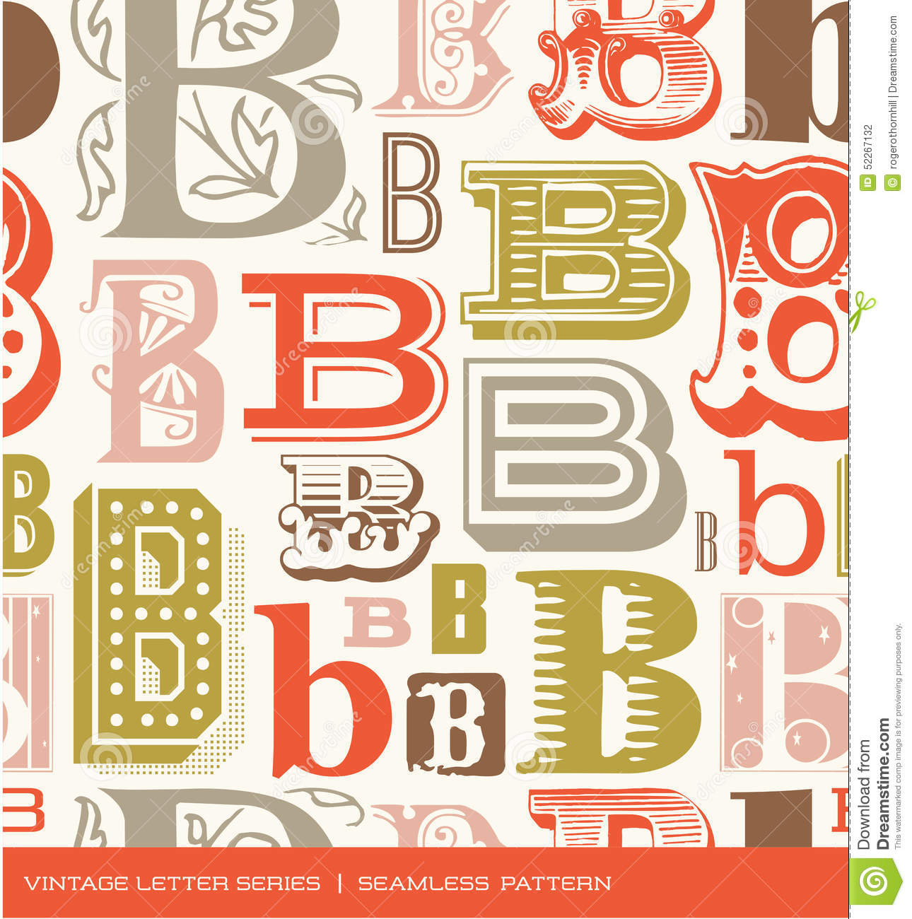 Seamless vintage pattern of the letter b in retro colors stock