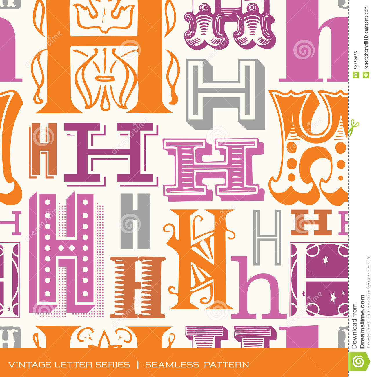 Seamless Vintage Pattern Of The Letter B In Retro Colors Stock ...
