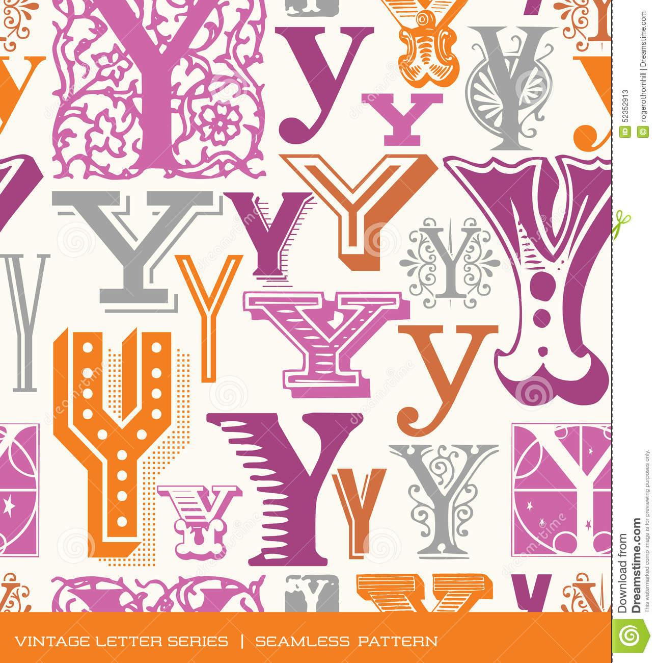 Seamless Vintage Pattern Of The Letter Y In Retro Colors Stock ...