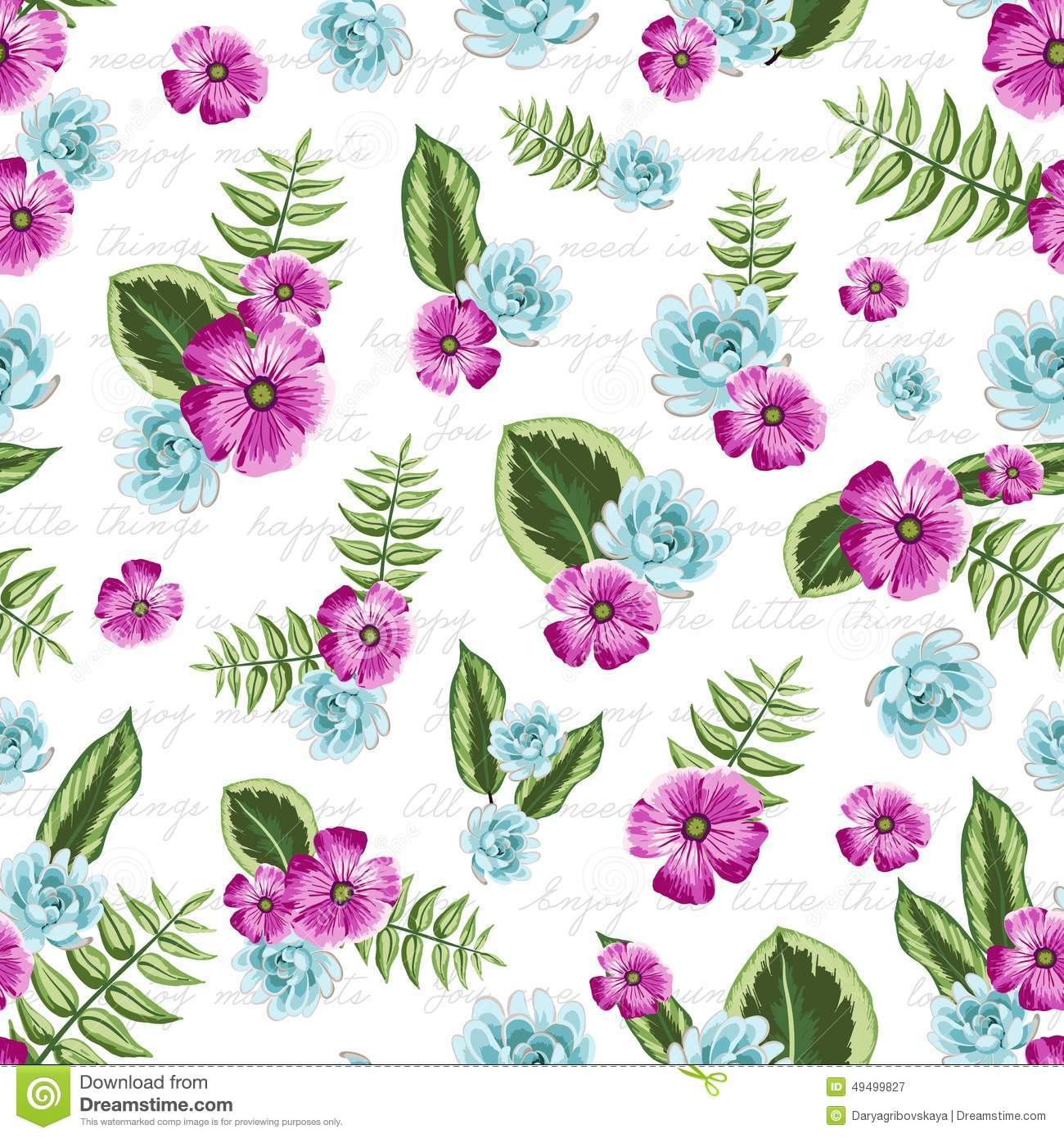 Seamless vintage pattern with painted flower