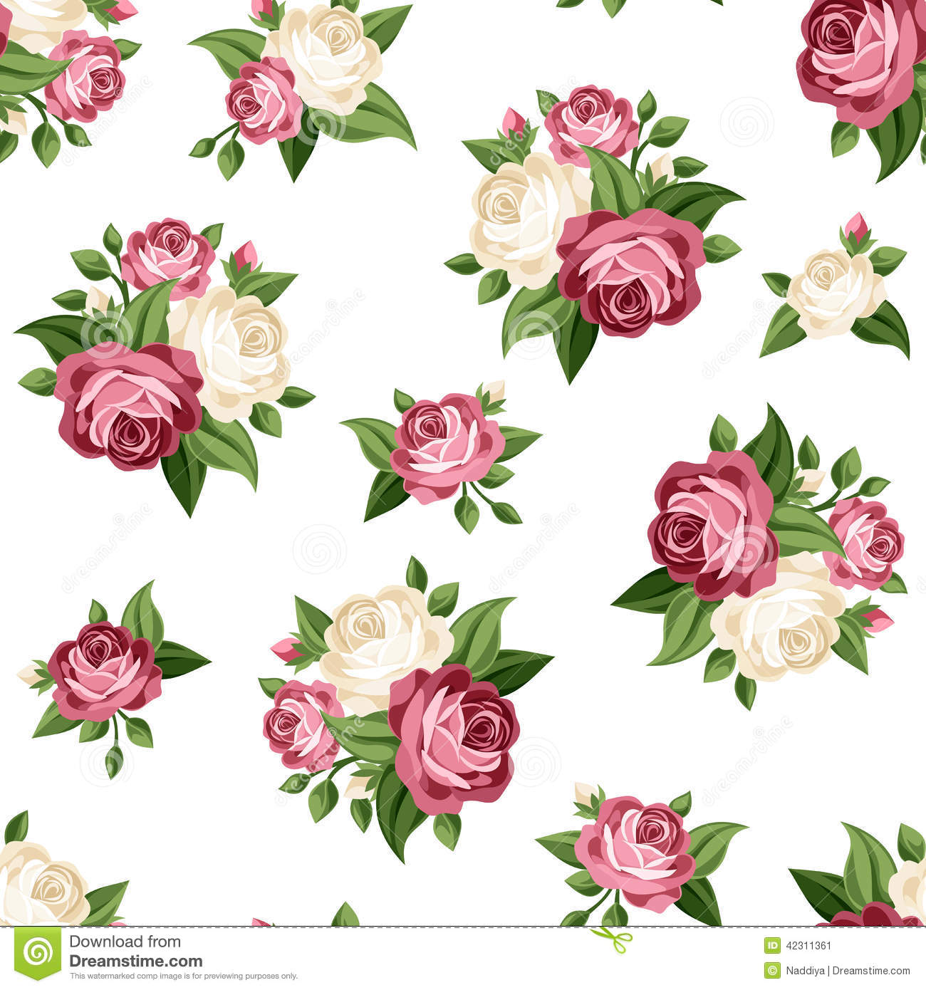 Seamless Vintage Pattern With Pink And White Roses. Vector ...