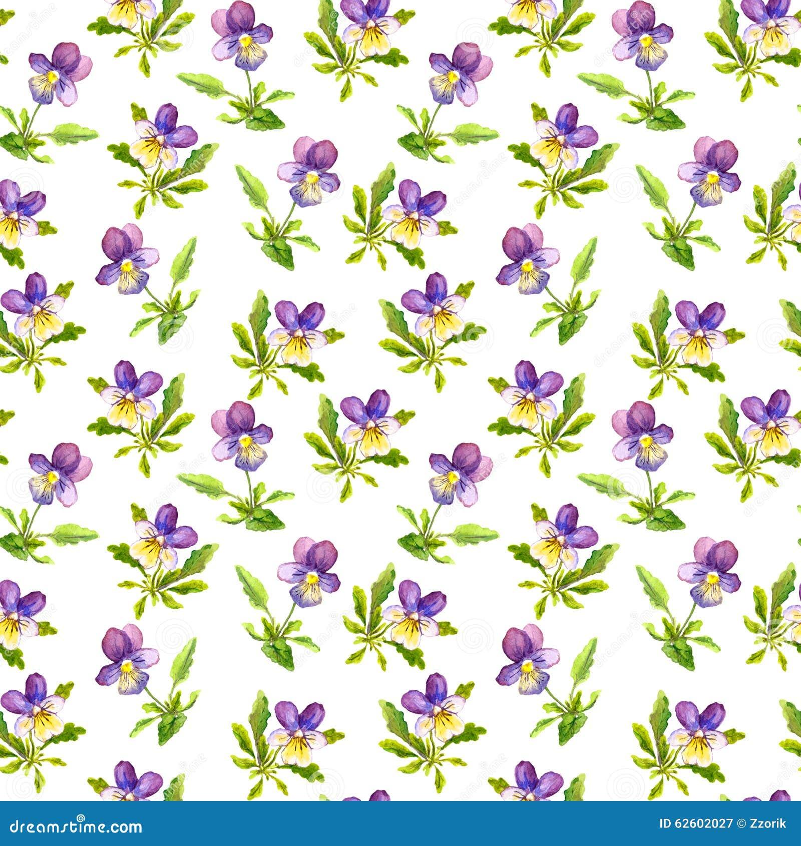 Seamless Vintage Pattern With Retro Botanical Violet Viola