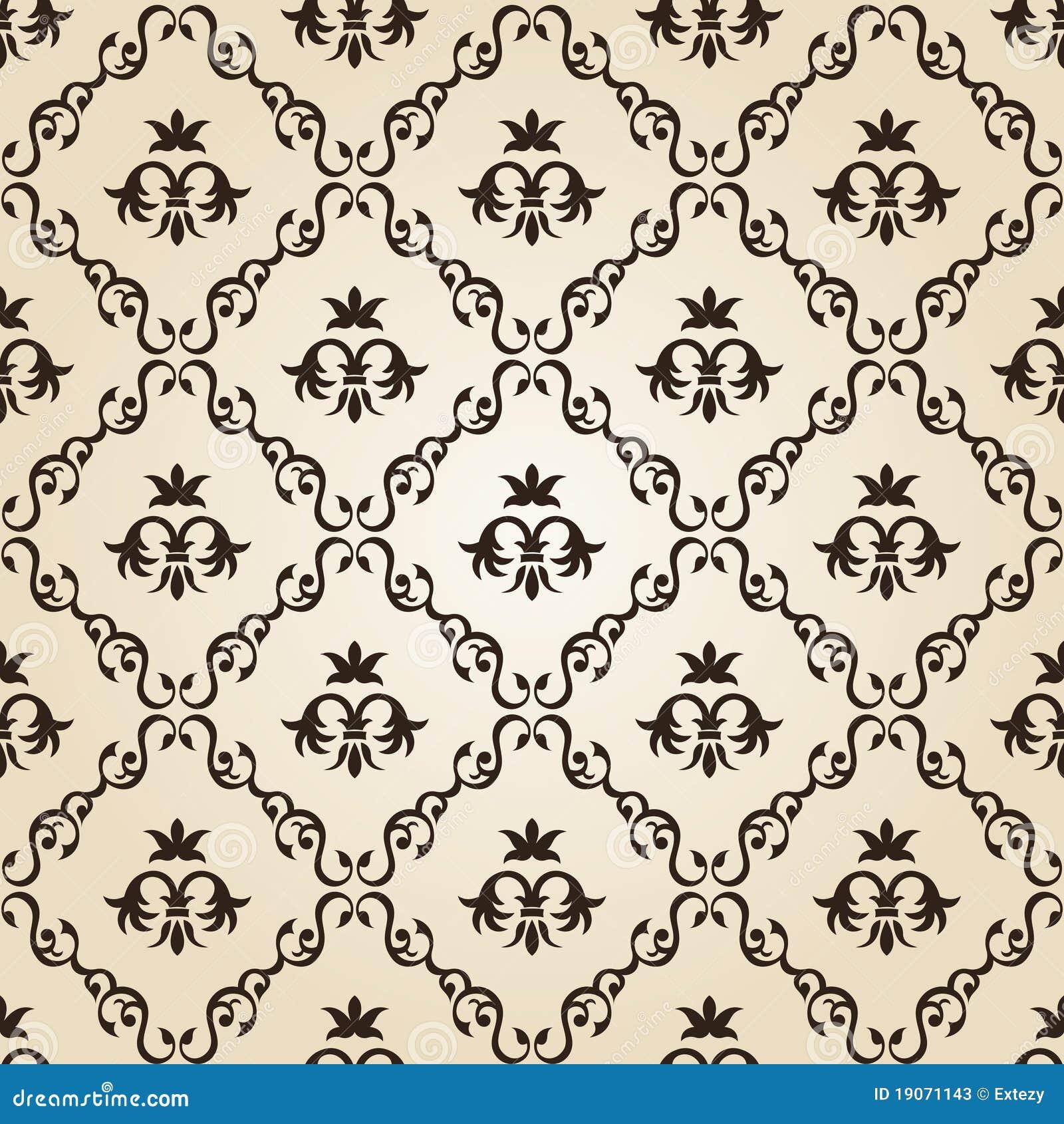 Seamless vintage wallpaper background floral beige