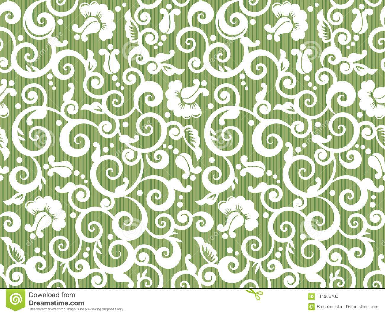 Seamless vintage white and green floral pattern with abstract roses